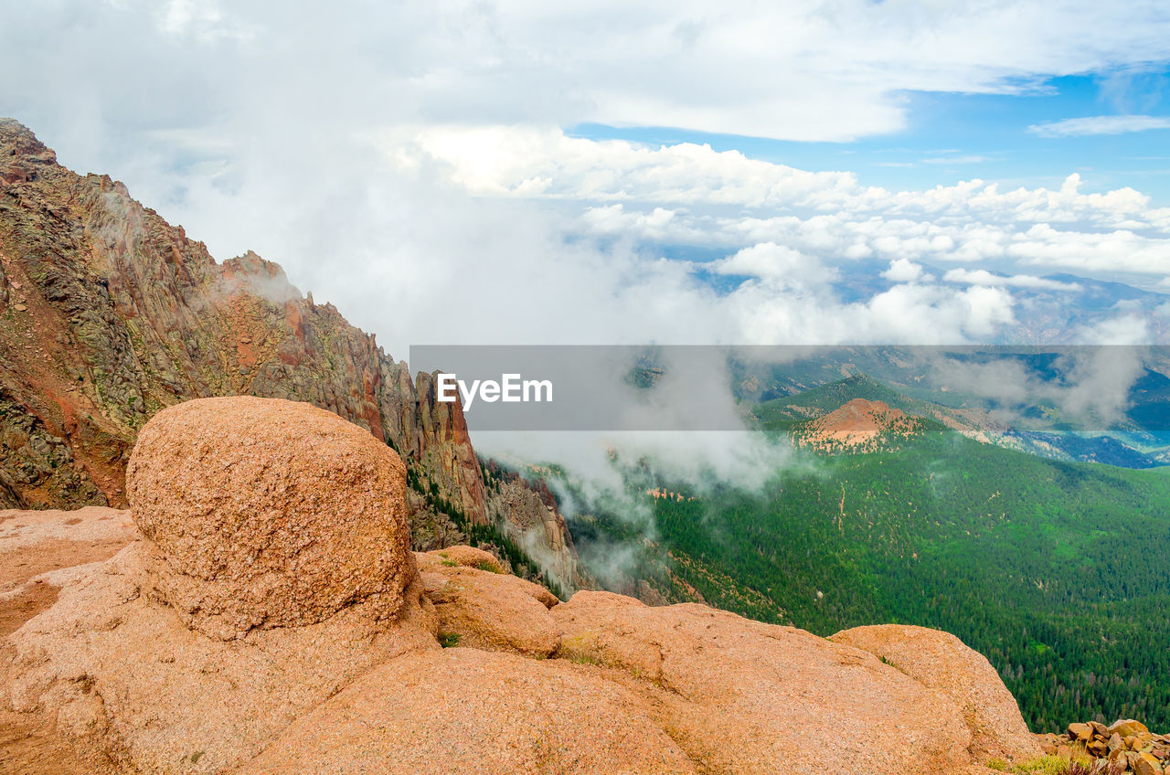 High Angle View Of Mountain Against Cloudy Sky