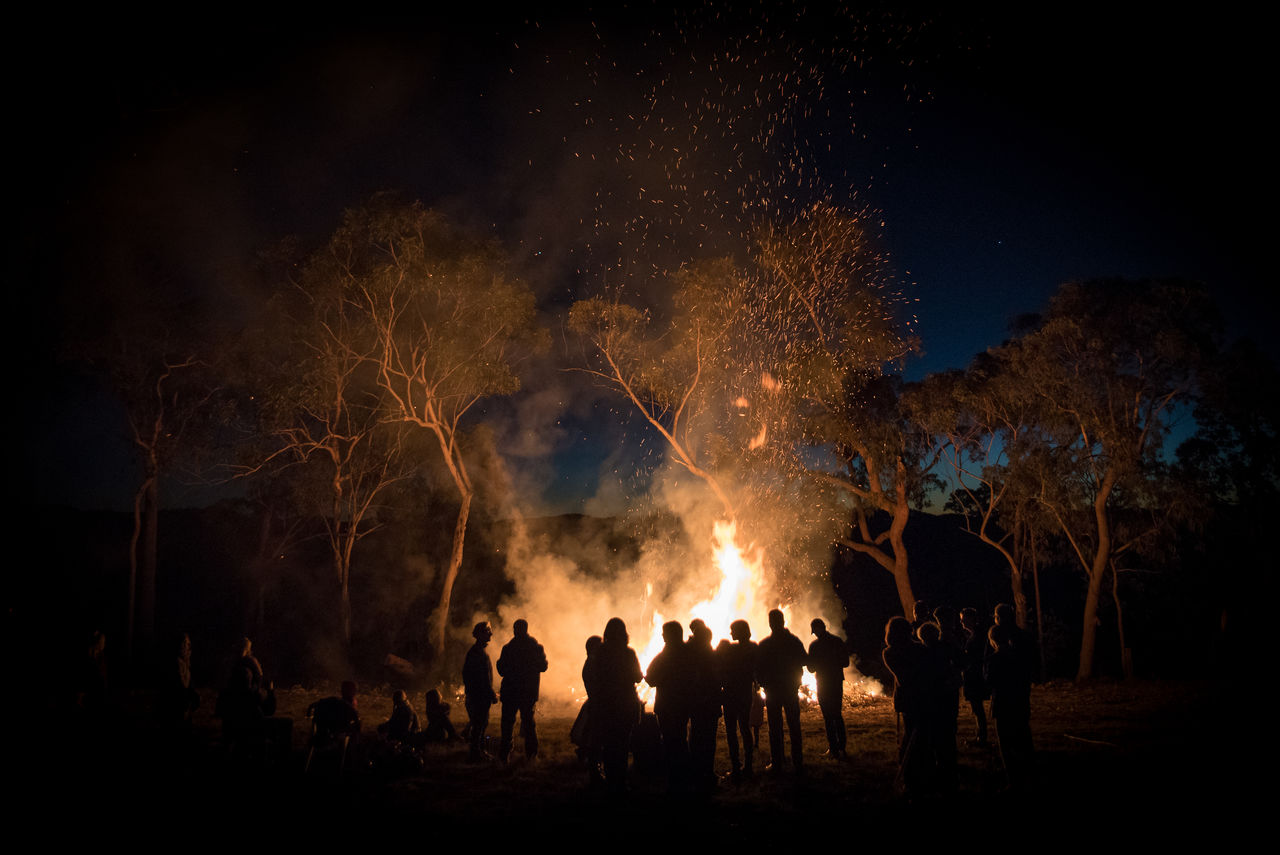 Group Of Silhouette People Standing By Bonfire In Forest At Night
