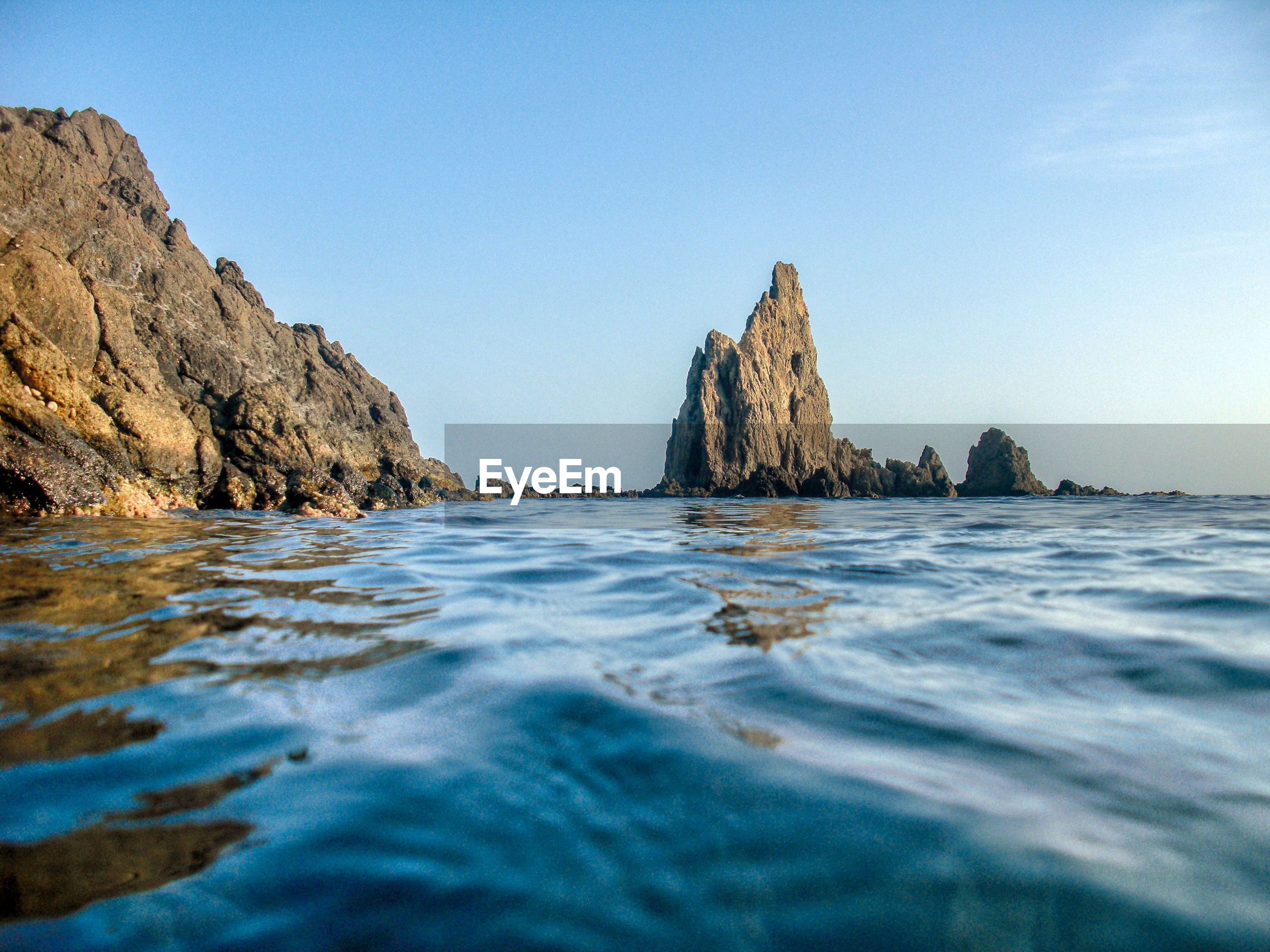 VIEW OF ROCKS IN SEA AGAINST CLEAR BLUE SKY