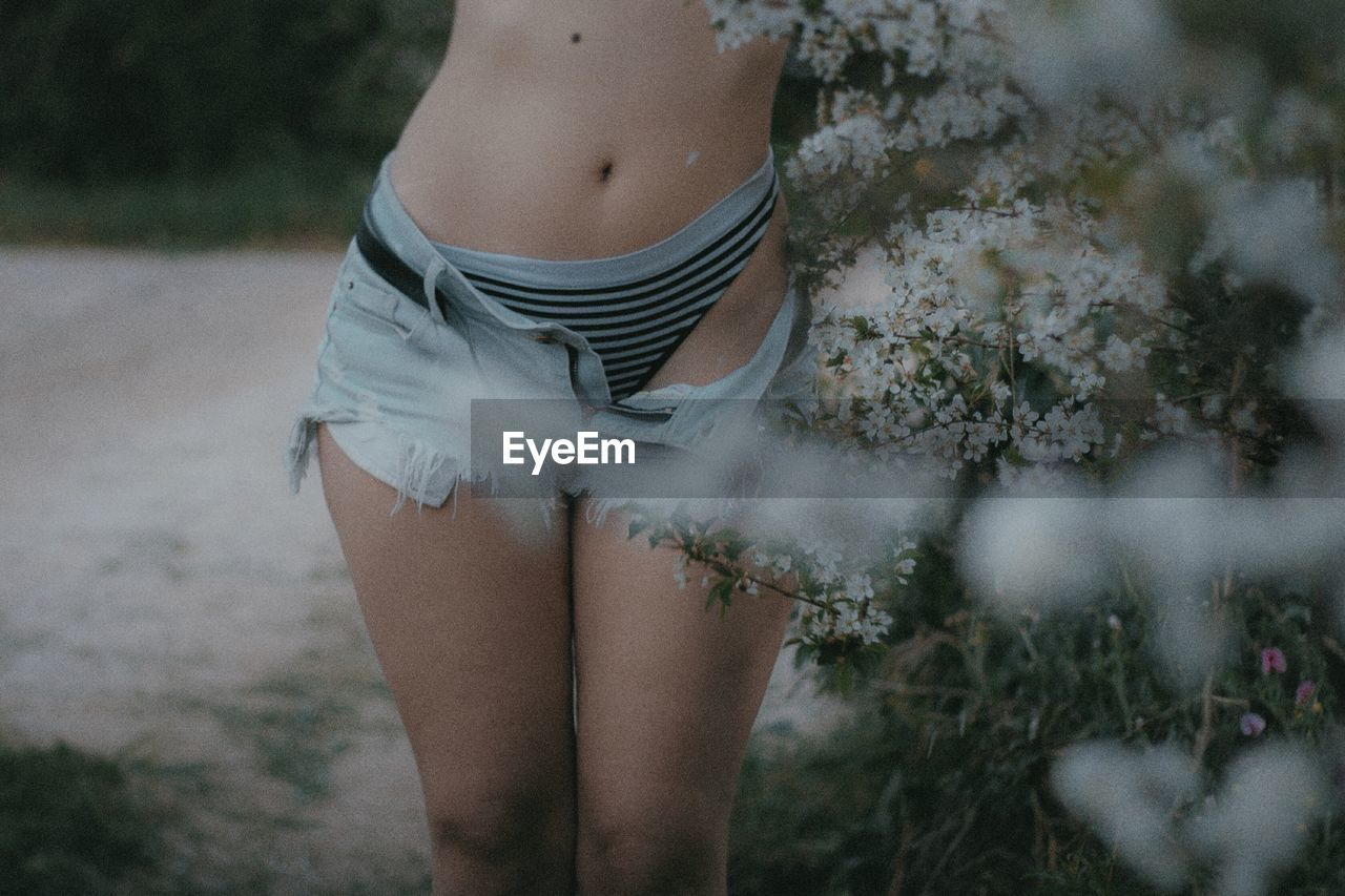Midsection of sensuous woman in hot pants standing by flowers