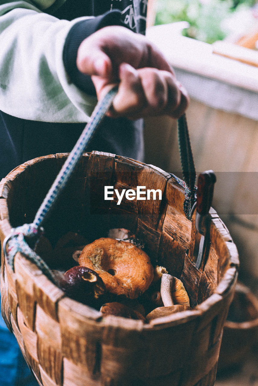 Midsection Of Person Holding Basket Of Mushrooms