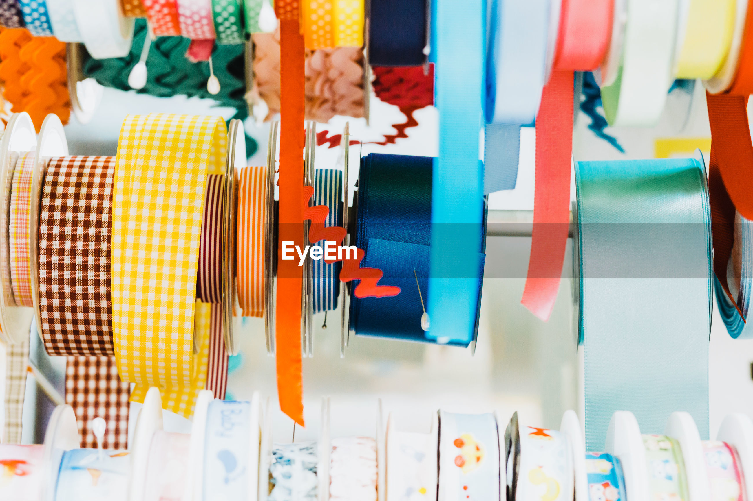 Close-up of colorful ribbons for sale