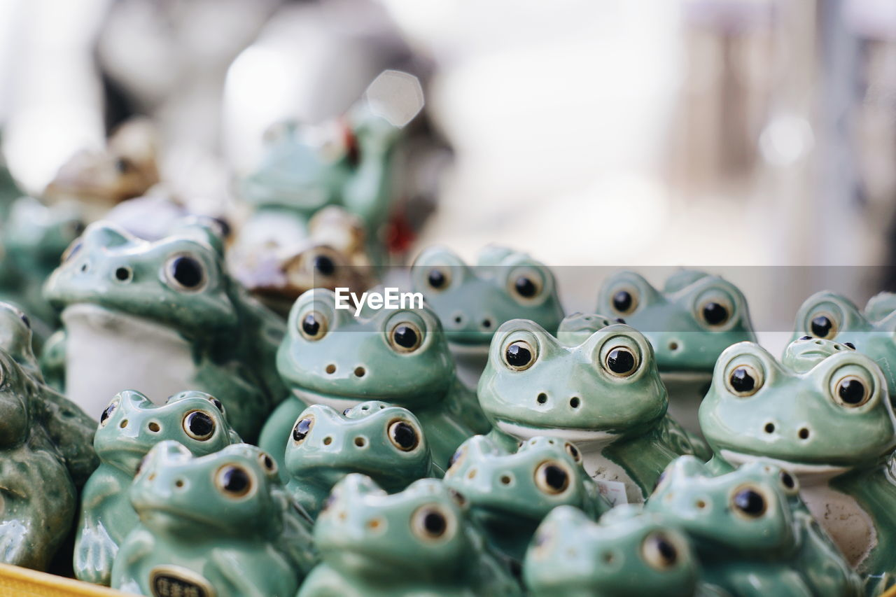 close-up, selective focus, no people, large group of objects, still life, creativity, abundance, indoors, repetition, representation, arrangement, green color, animal representation, art and craft, choice, stack, collection, retail, day, craft, turquoise colored