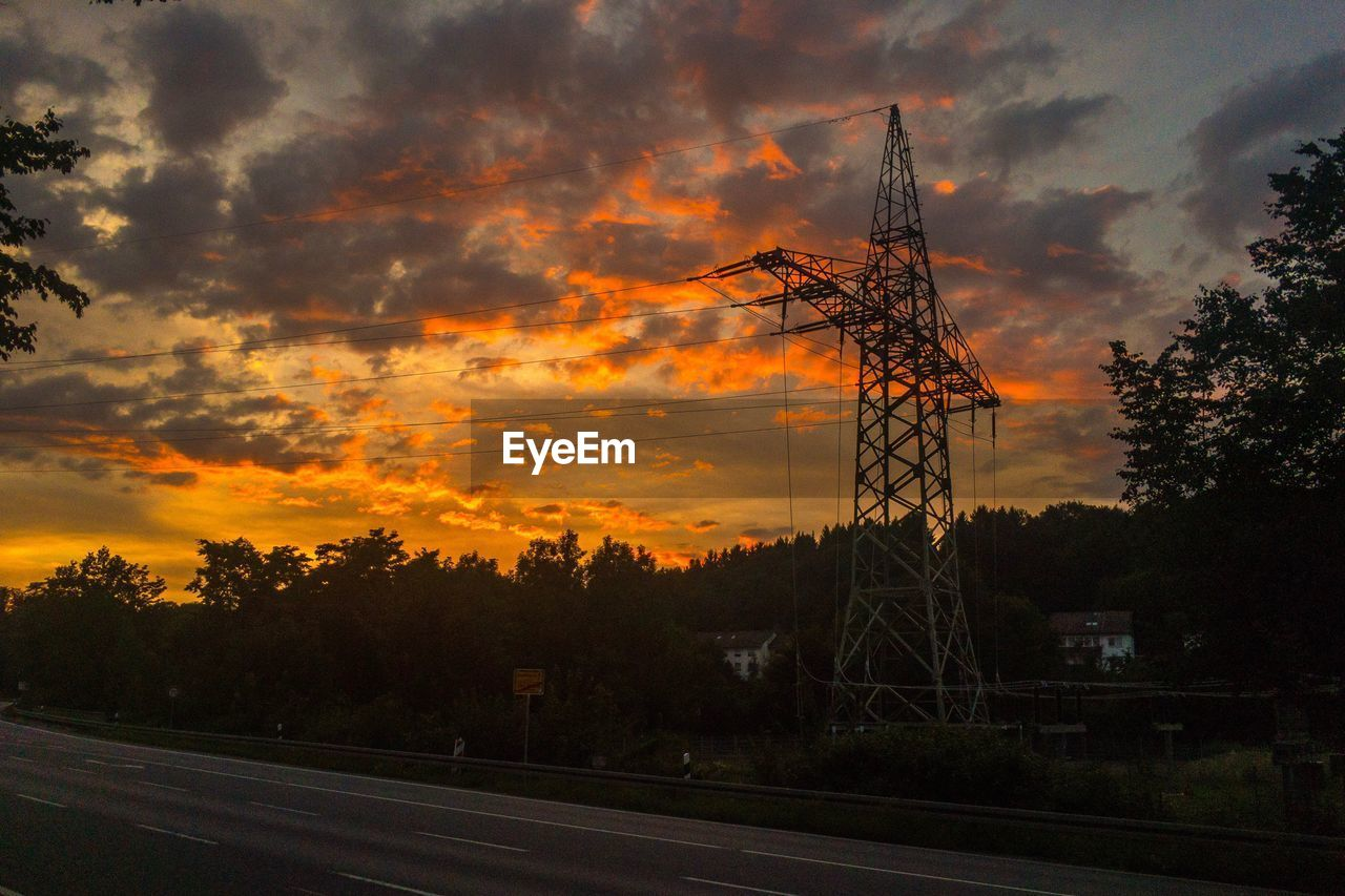 sunset, cloud - sky, orange color, sky, tree, silhouette, outdoors, no people, communication, nature, electricity pylon, tranquility, technology, scenics, beauty in nature, day