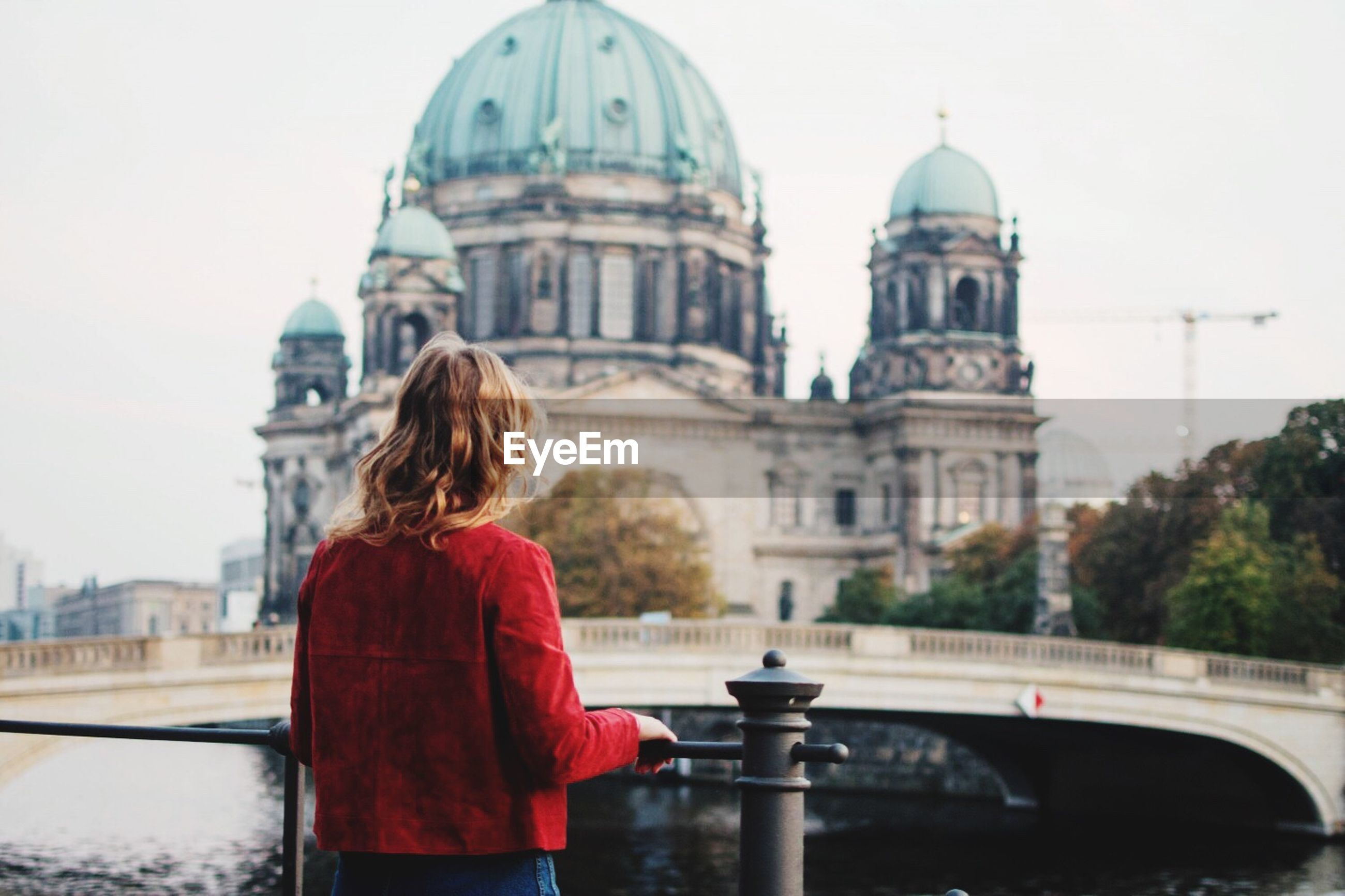 Rear view of woman looking at berlin cathedral