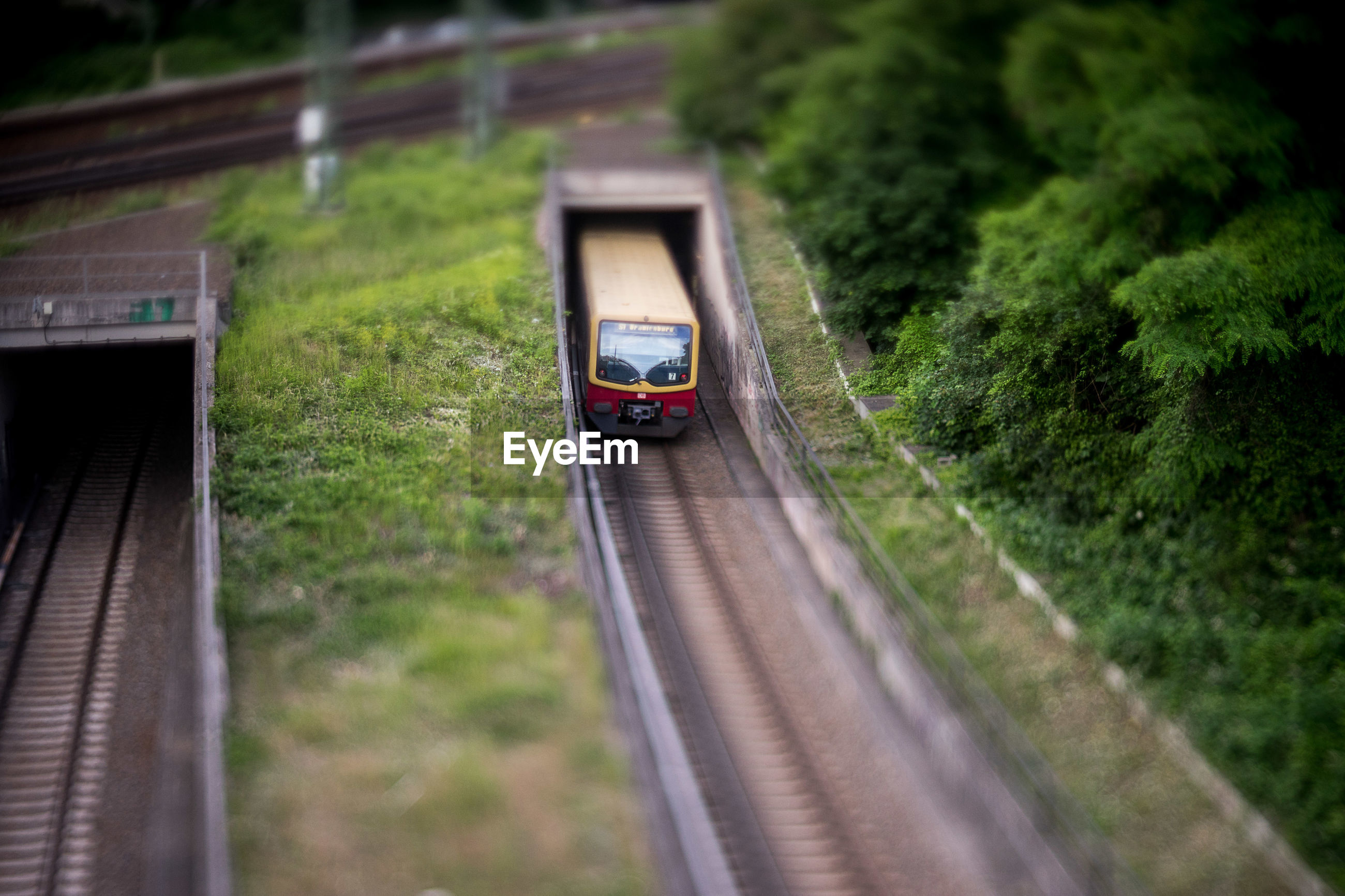 High angle view of train passing through tunnel