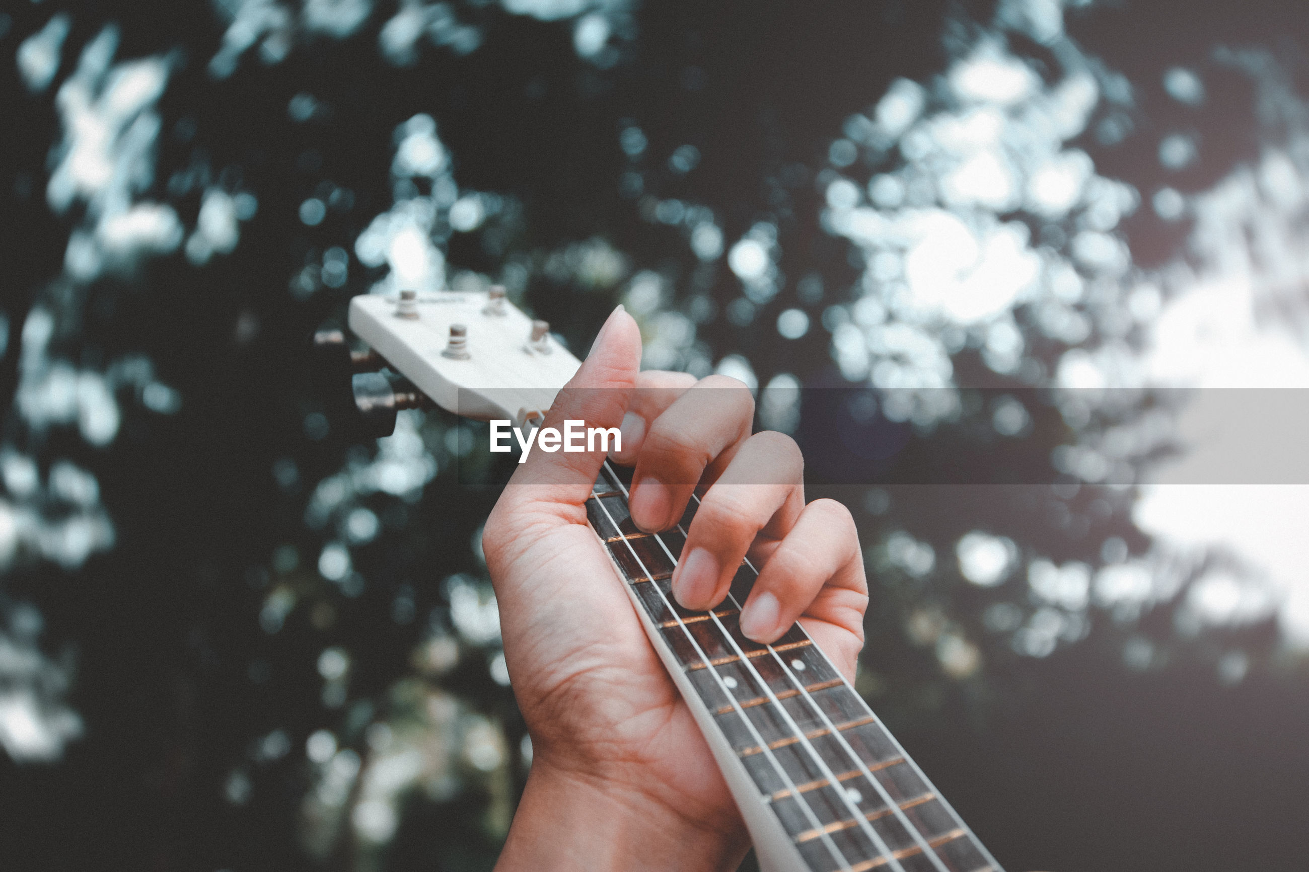 Close-up of hand playing guitar against tree