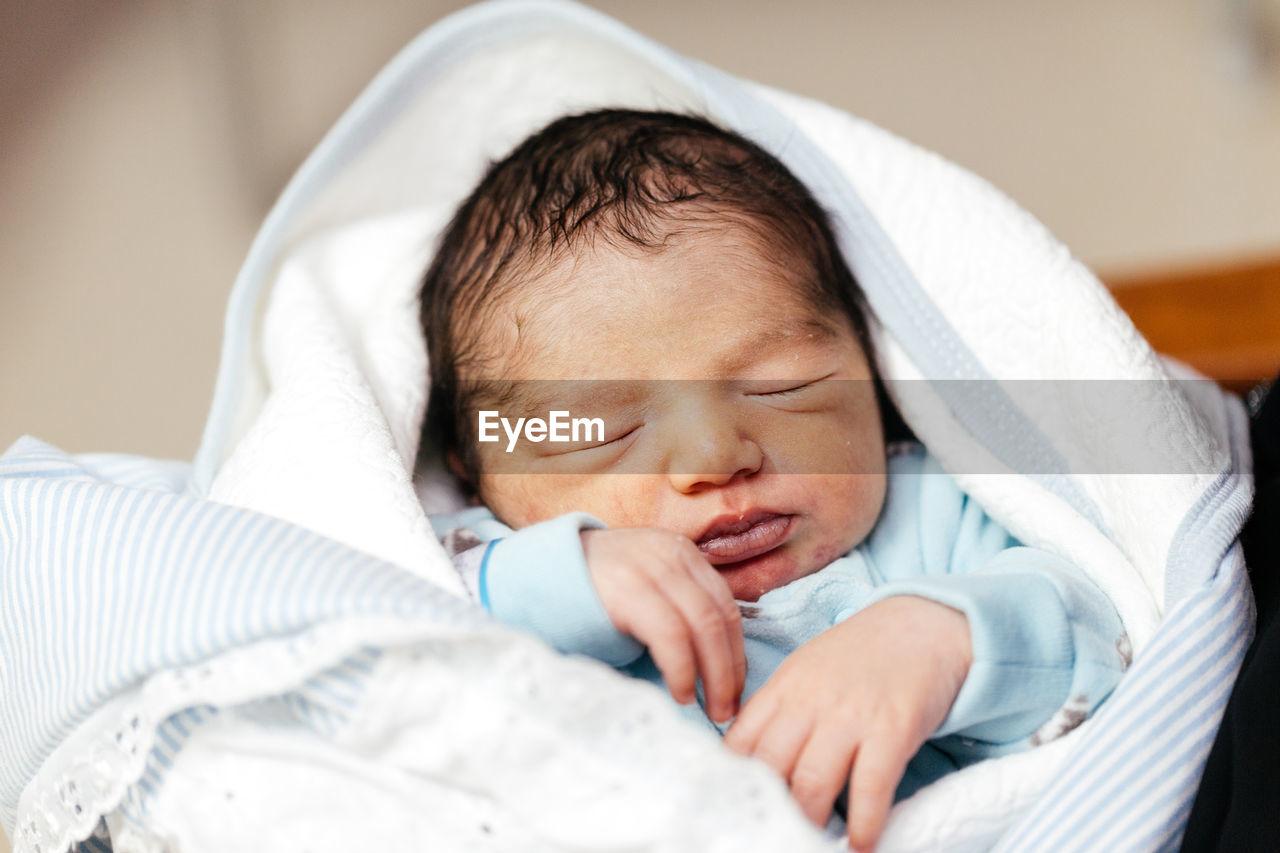 Close-Up Of Baby Boy Sleeping