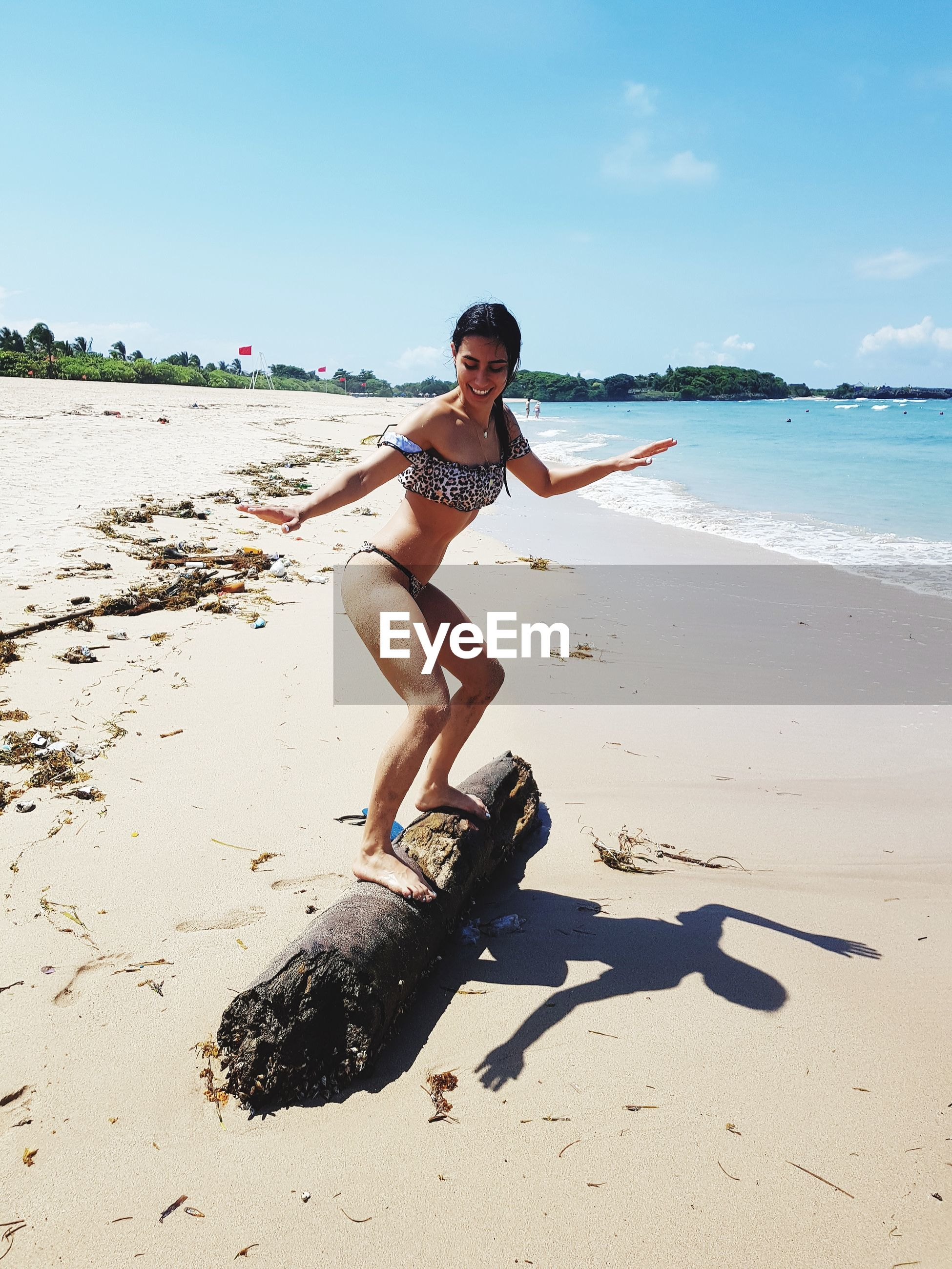 Woman standing on driftwood at beach