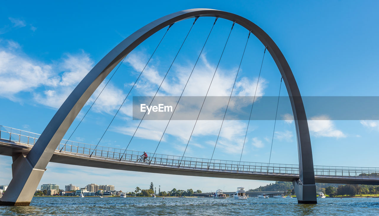 water, sky, bridge, built structure, architecture, bridge - man made structure, transportation, connection, cloud - sky, nature, engineering, day, river, waterfront, city, travel destinations, incidental people, outdoors