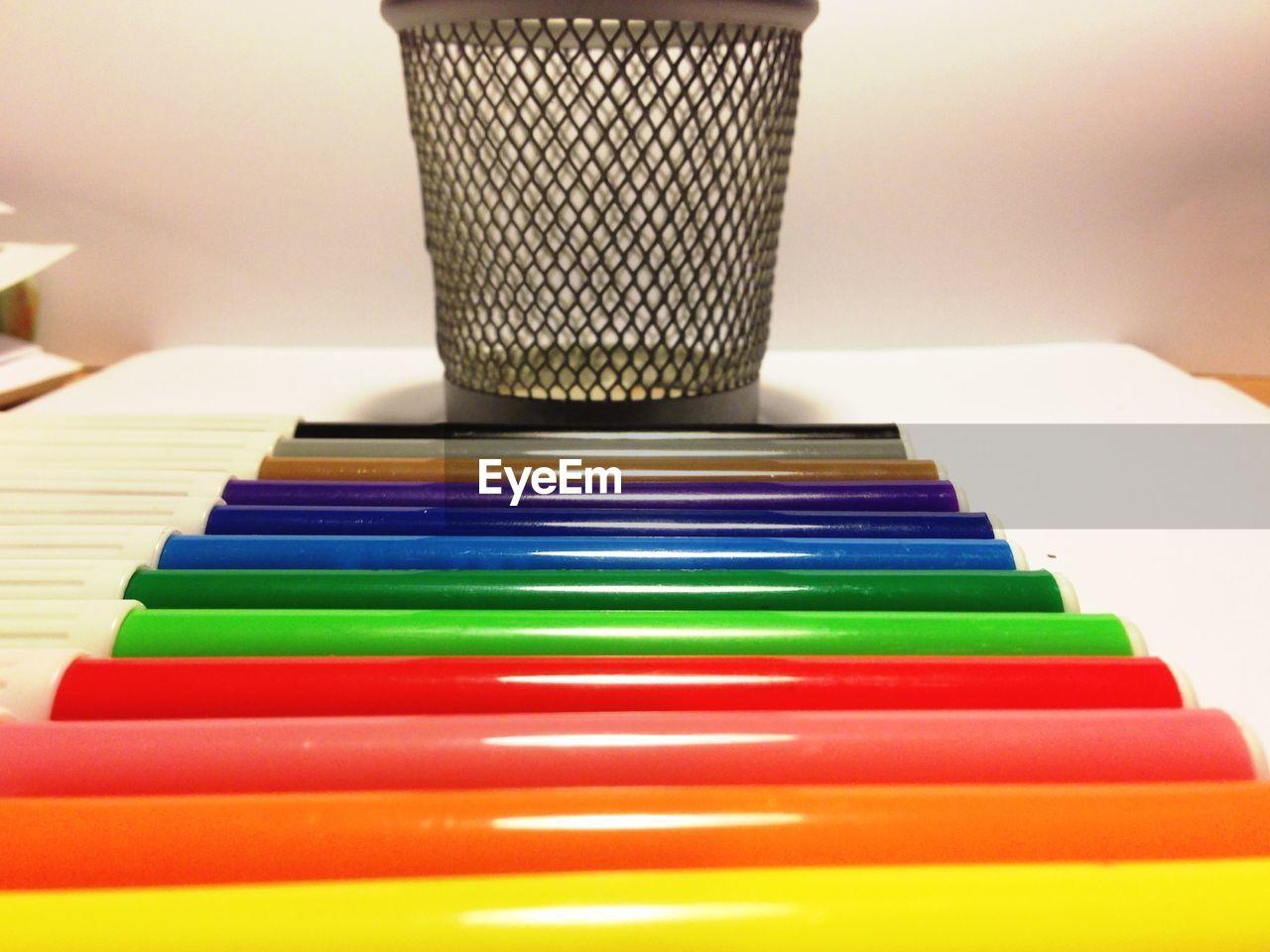 Multi colored felt tip pens in box