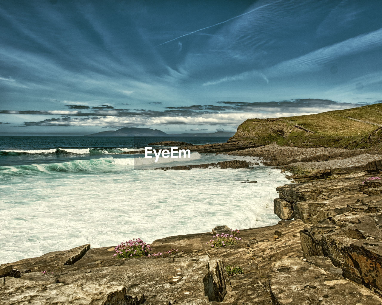 water, sea, sky, cloud - sky, beauty in nature, scenics - nature, beach, rock, land, nature, rock - object, tranquility, tranquil scene, motion, solid, no people, day, idyllic, outdoors, rocky coastline, flowing water