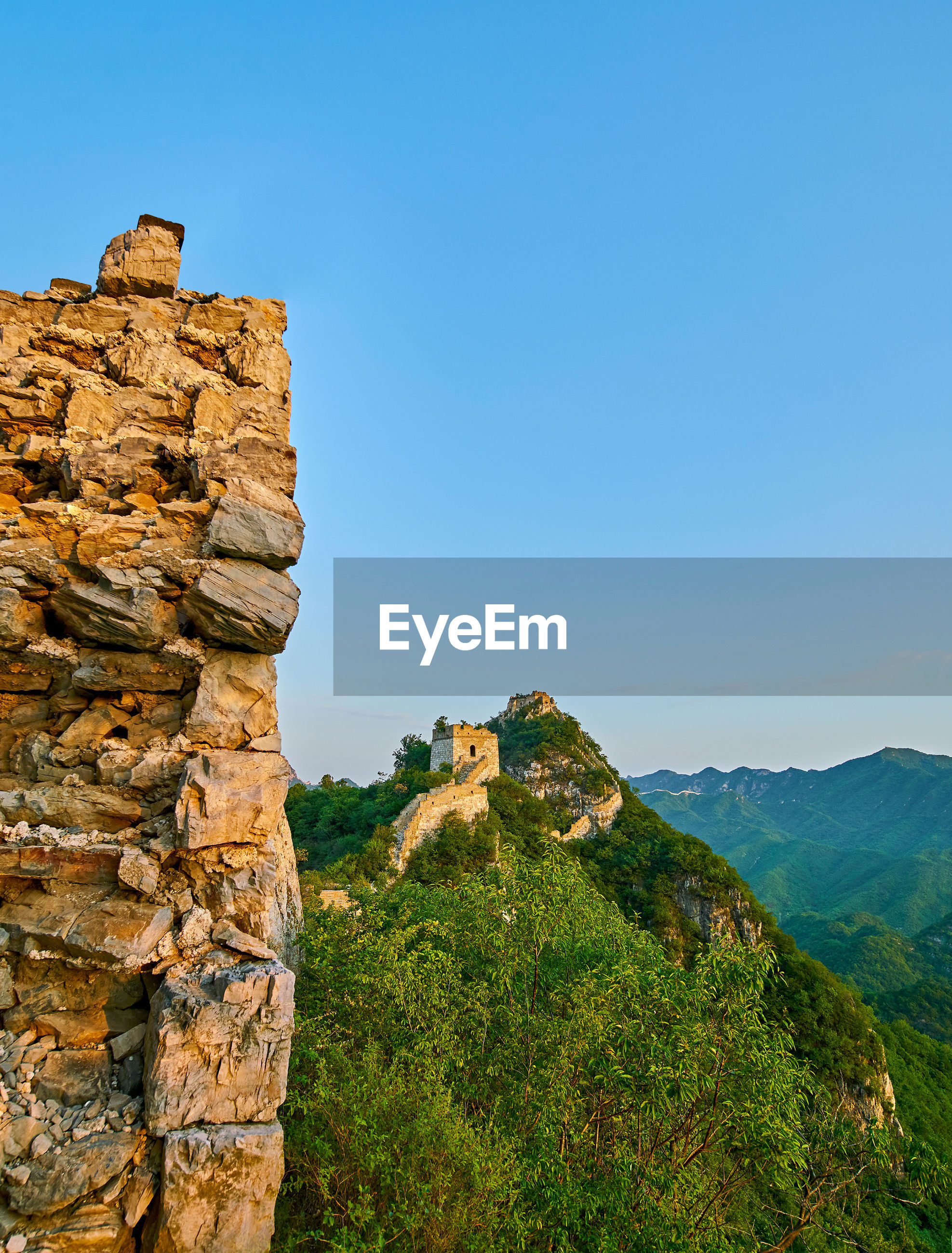 Great wall of china on mountain against clear sky
