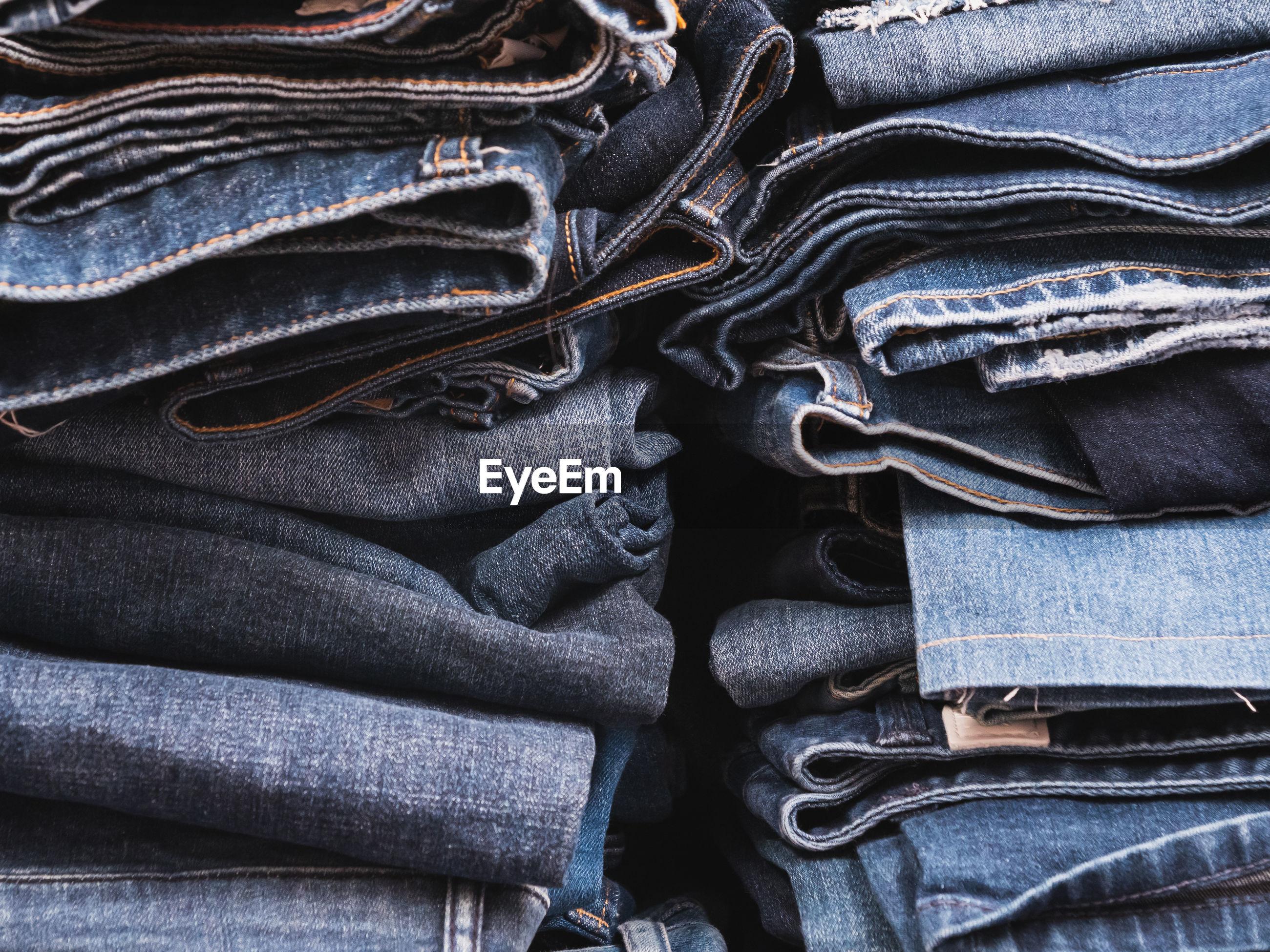 Full frame shot of jeans pants