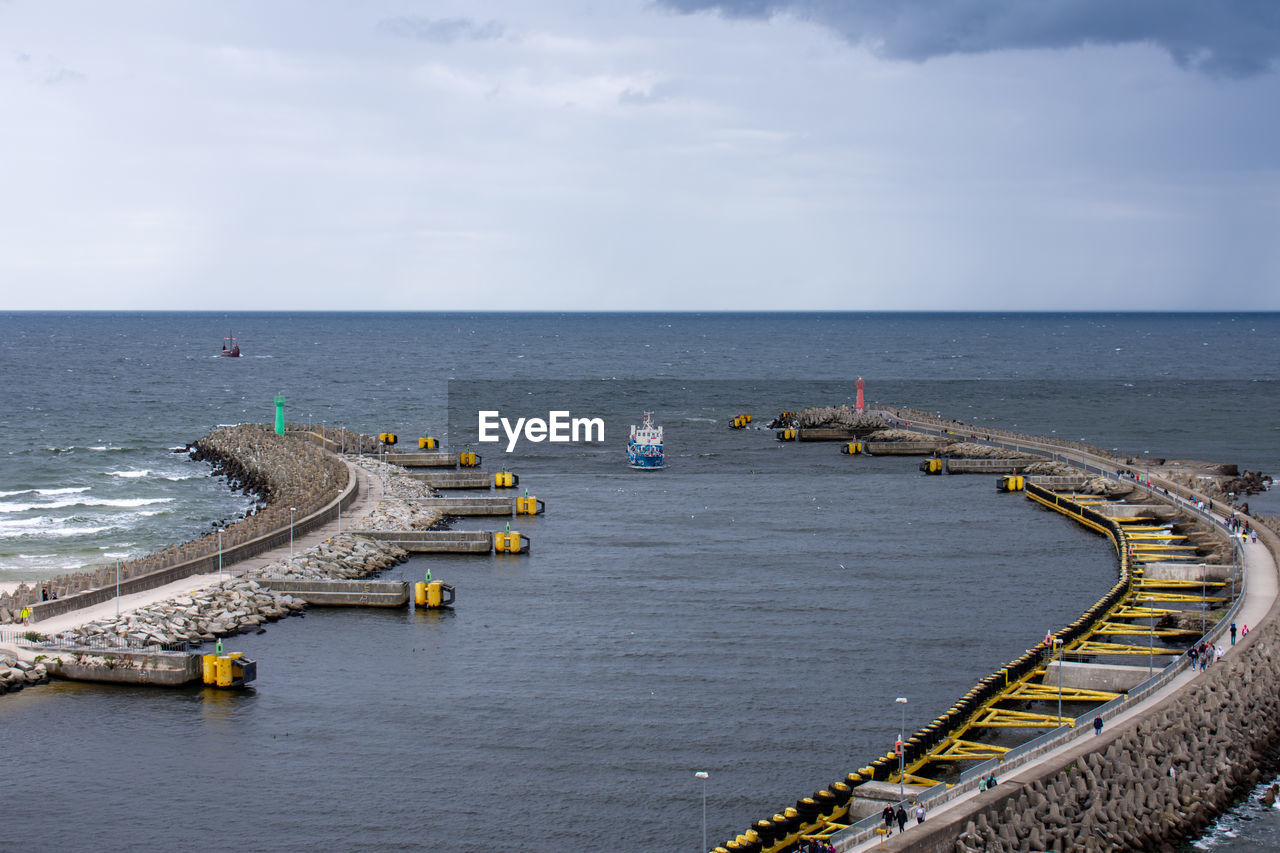 HIGH ANGLE VIEW OF PIER AMIDST SEA AGAINST SKY