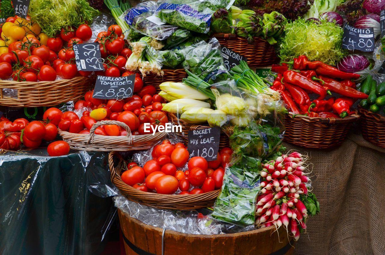 Vegetables in basket for sale at market stall