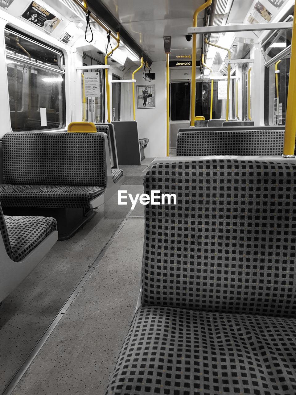 train - vehicle, public transportation, transportation, no people, rail transportation, mode of transport, indoors, subway train, vehicle seat, day