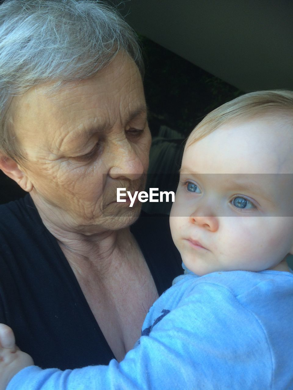 Close-Up Of Grandmother With Grandson