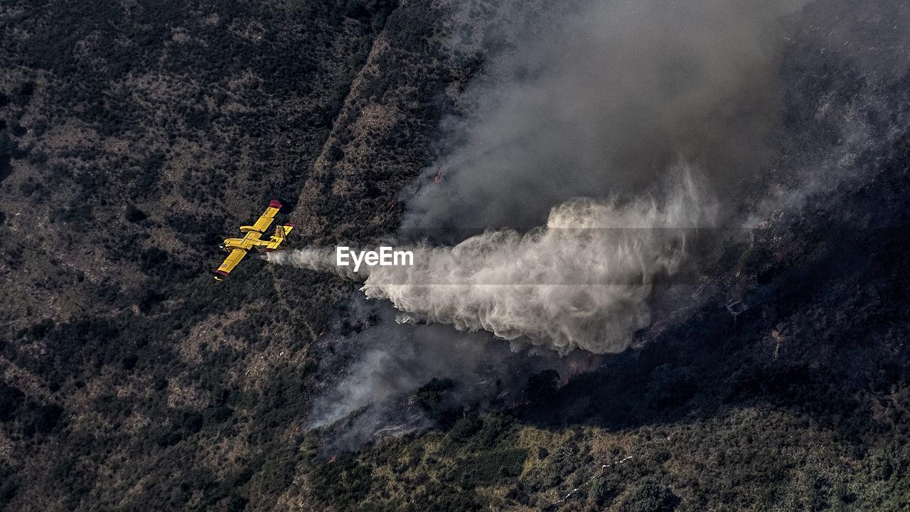 Aerial View Of Airplane Crashing On Land