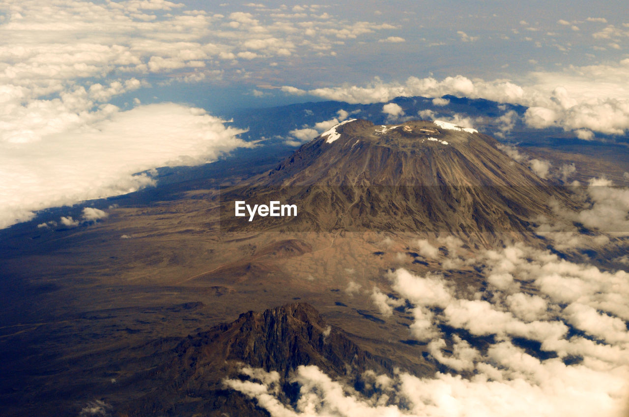 Aerial view of kilimanjaro mount