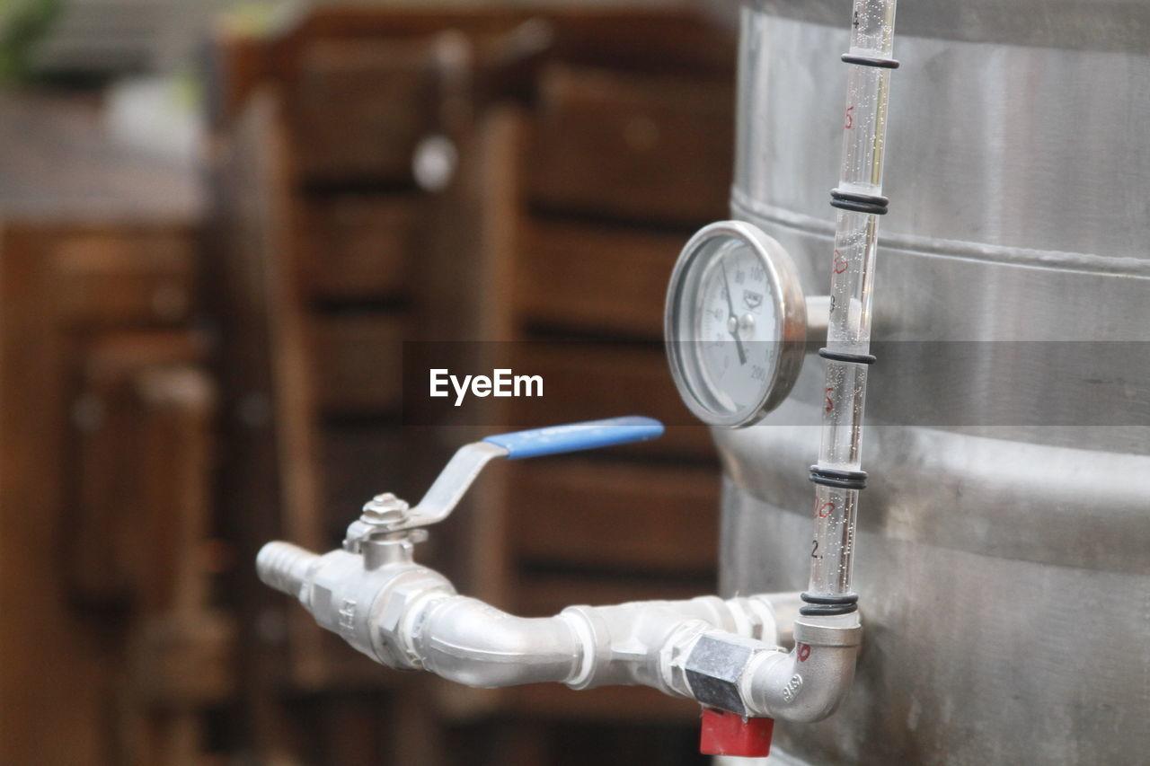 Close-up of pressure gauge at microbrewery