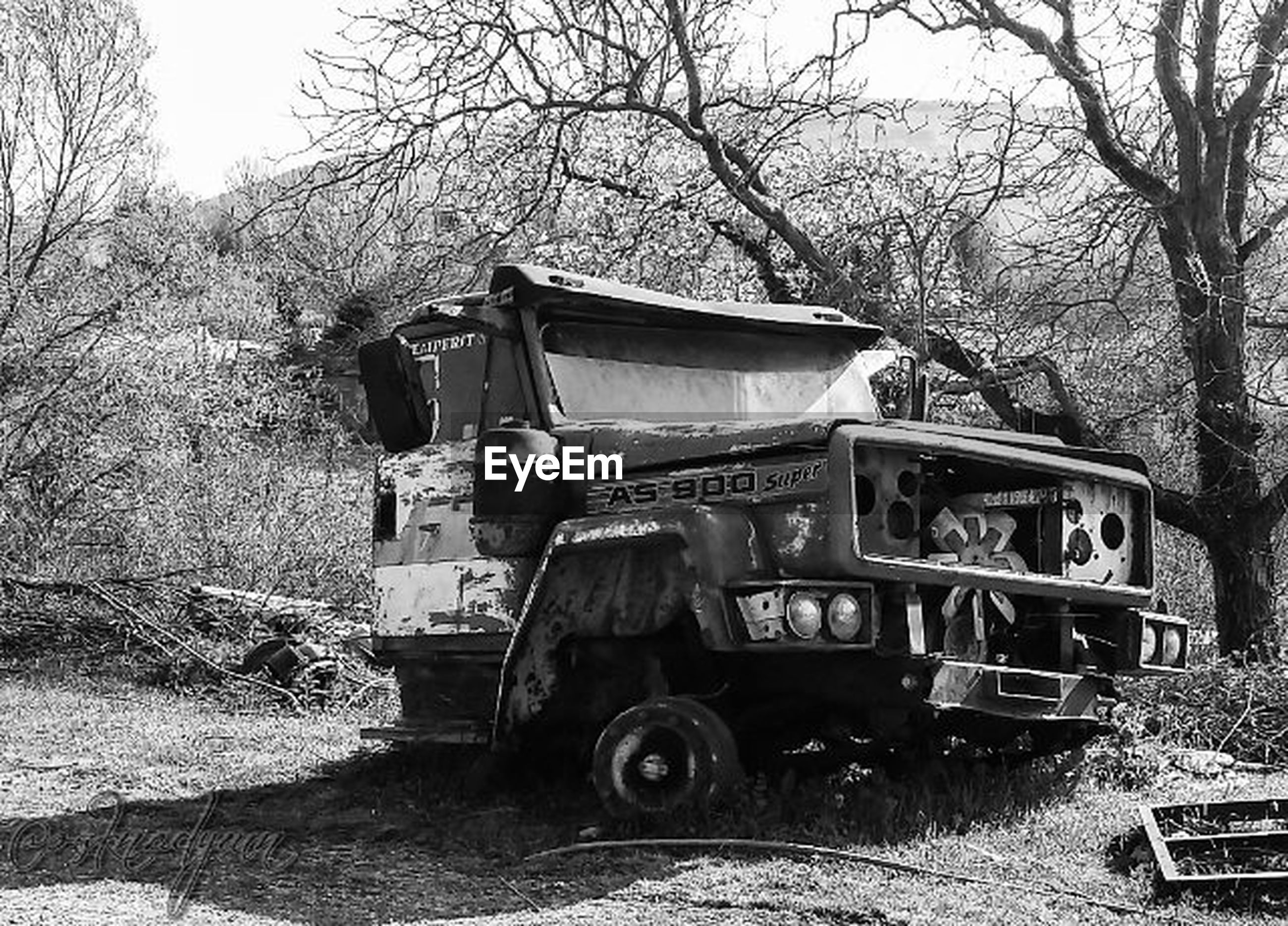 transportation, mode of transport, land vehicle, tree, abandoned, obsolete, car, old, damaged, run-down, stationary, deterioration, old-fashioned, day, travel, bare tree, field, tractor, outdoors, no people