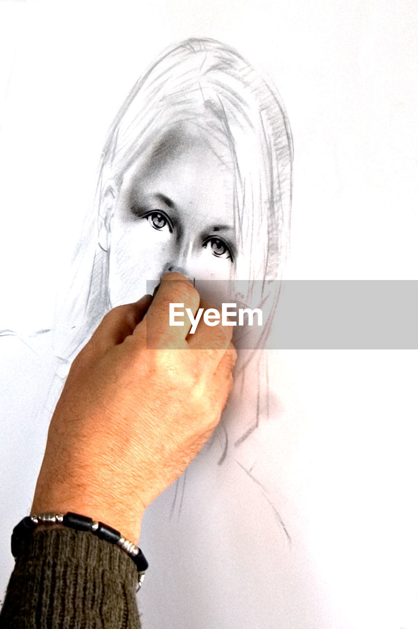 human body part, one person, human hand, hand, looking at camera, portrait, body part, white background, studio shot, adult, indoors, human face, covering, women, mid adult, real people, close-up, lifestyles, finger, aggression, obscured face