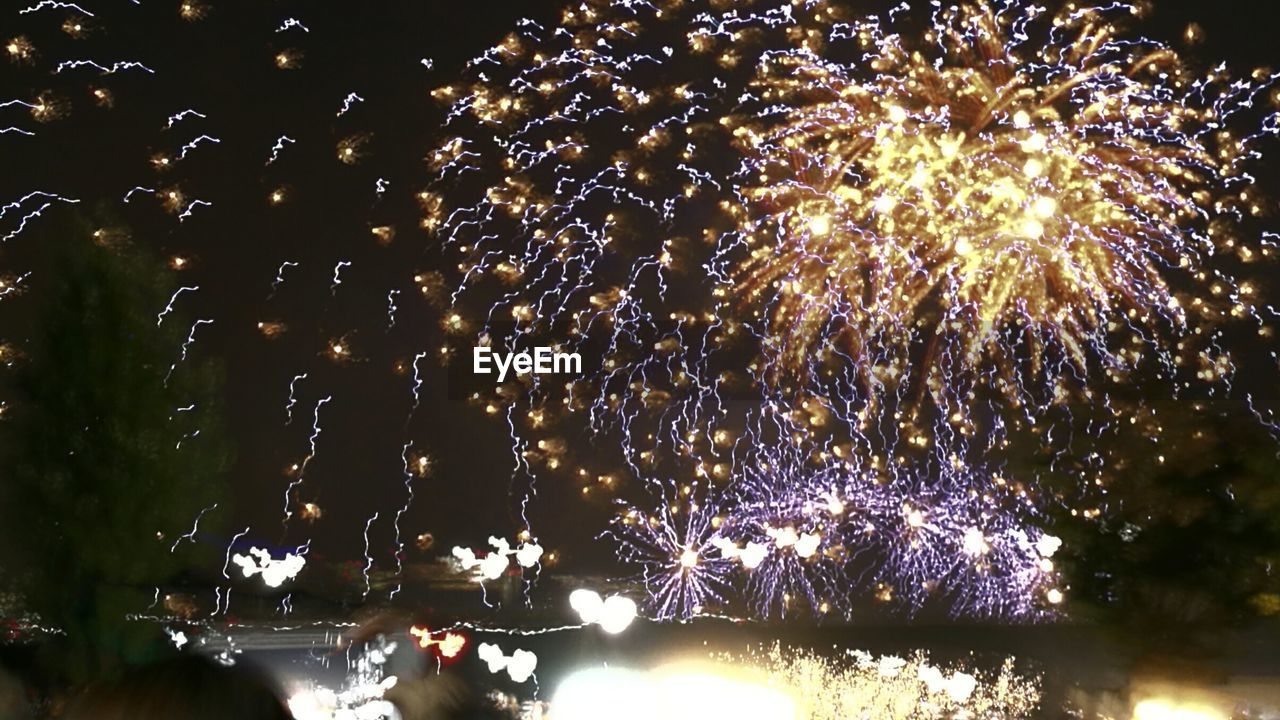 night, low angle view, firework display, illuminated, celebration, glowing, exploding, event, firework - man made object, outdoors, arts culture and entertainment, long exposure, sky, no people, tree, firework, nature, beauty in nature