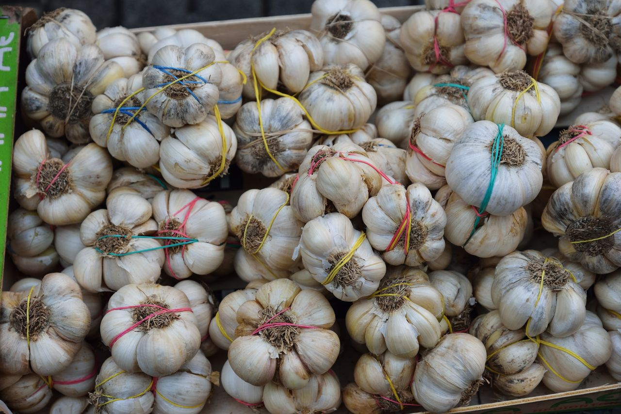 food and drink, wellbeing, food, healthy eating, freshness, retail, market, for sale, vegetable, large group of objects, garlic, spice, market stall, still life, ingredient, raw food, garlic bulb, no people, abundance, backgrounds, sale, retail display