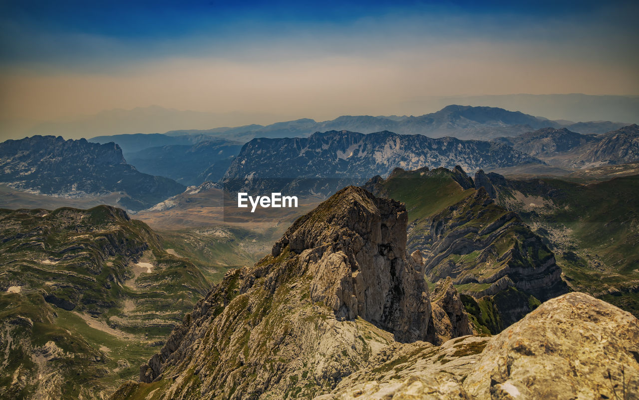 Landscape in the mountains captured from the of the highest montenegro mountain peak bobotov kuk