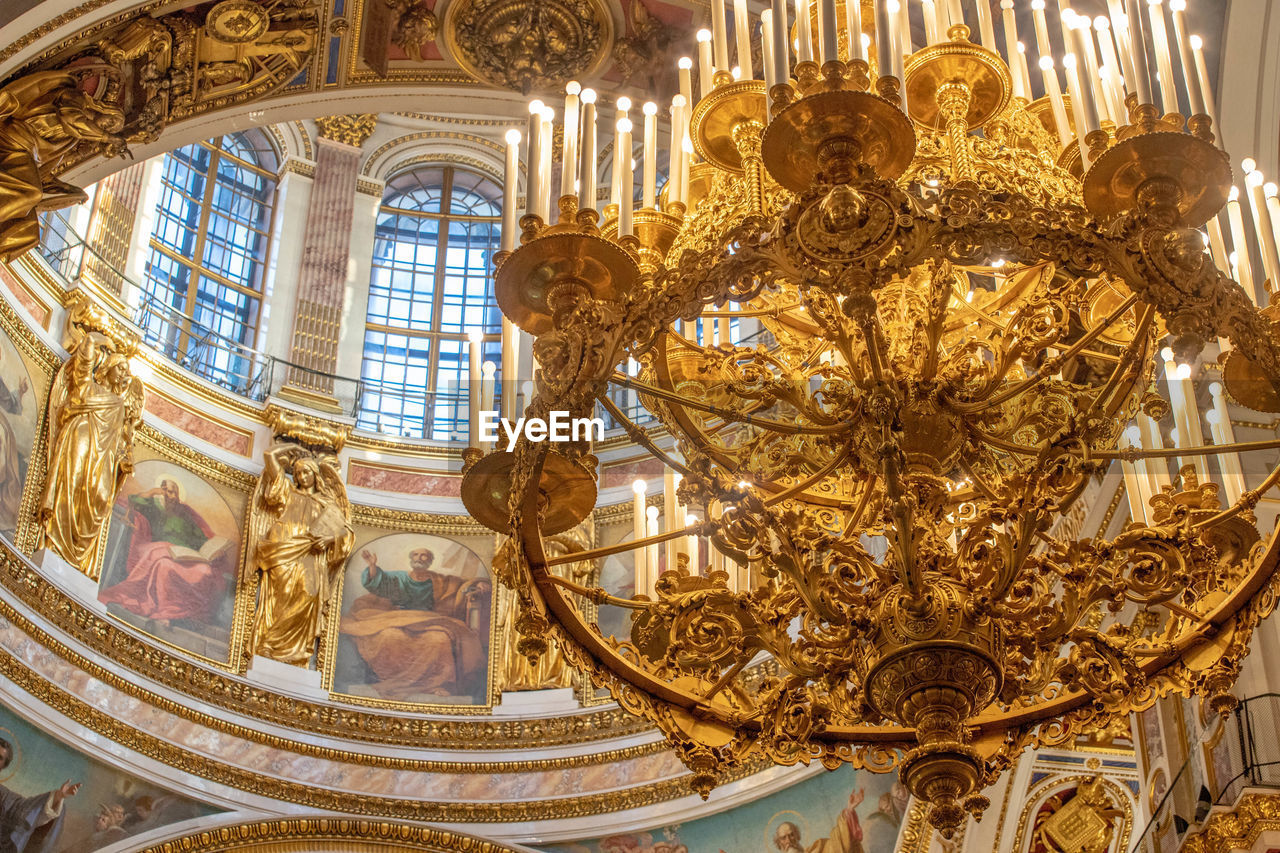 architecture, indoors, built structure, ornate, travel destinations, no people, wealth, gold colored, chandelier, luxury, lighting equipment, travel, history, window, the past, city, arts culture and entertainment, day, art and craft, ceiling, mural