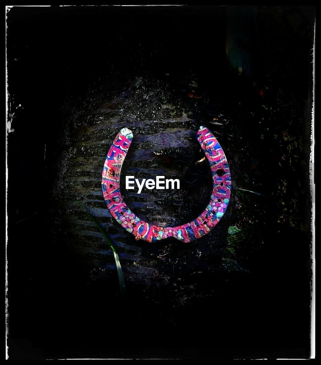 transfer print, no people, communication, auto post production filter, sign, close-up, night, pink color, text, outdoors, illuminated, dark, nature, creativity, positive emotion, emotion, high angle view, love, western script, shape