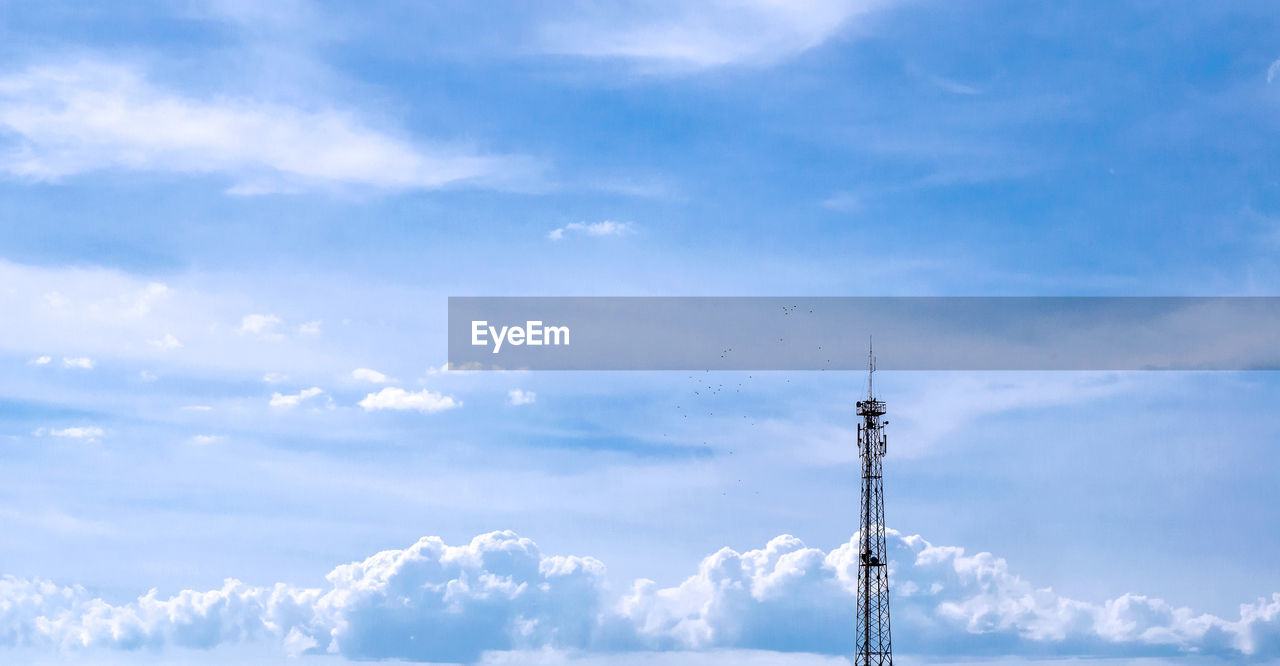 cloud - sky, sky, tower, technology, communication, architecture, low angle view, no people, tall - high, broadcasting, built structure, day, nature, beauty in nature, antenna - aerial, global communications, outdoors, telecommunications equipment, connection, spire