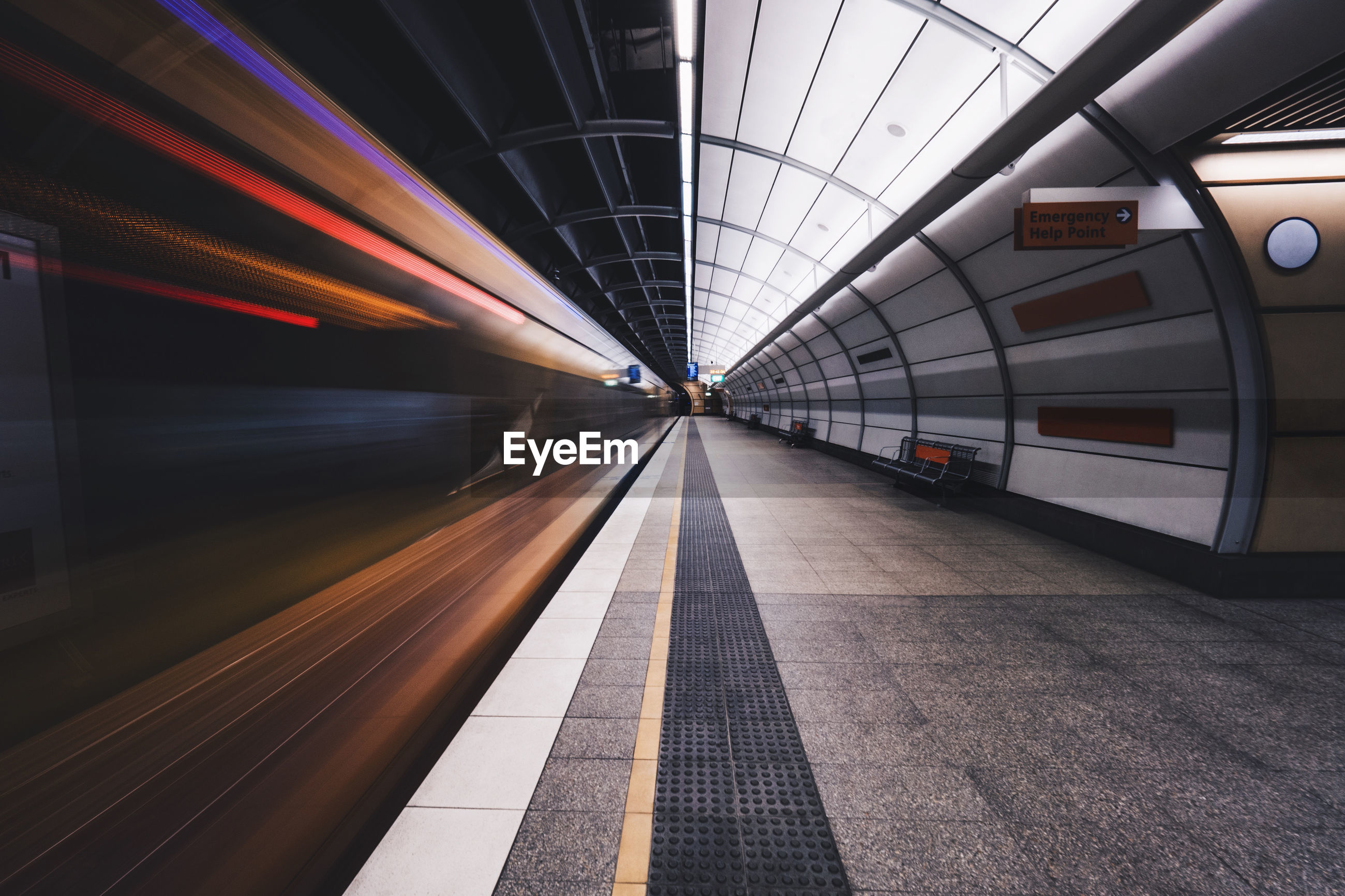 Blurred motion of train in subway