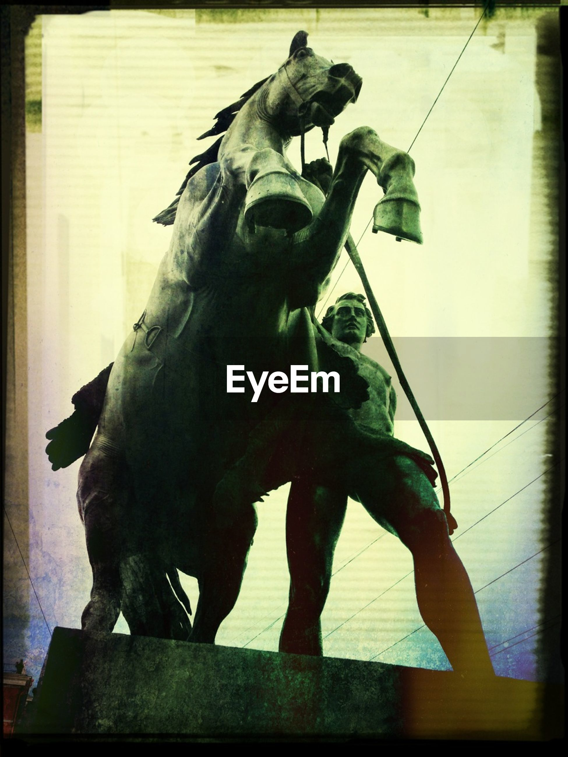 transfer print, statue, sculpture, human representation, auto post production filter, art and craft, animal themes, art, creativity, animal representation, low angle view, horse, one animal, day, outdoors, wildlife, full length, no people