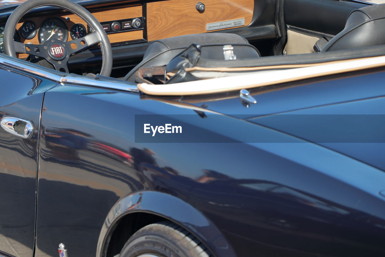 High angle view of convertible on street