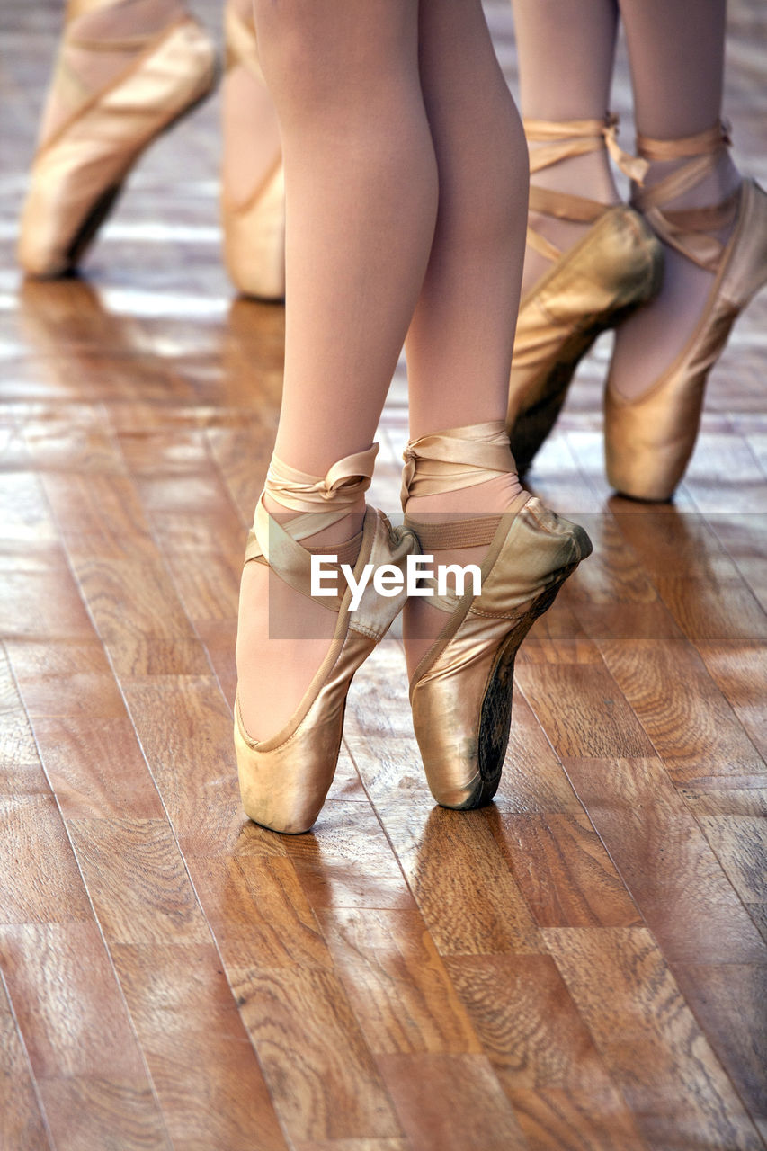 Close-Up Of The Feet Of Three Ballet Dancers