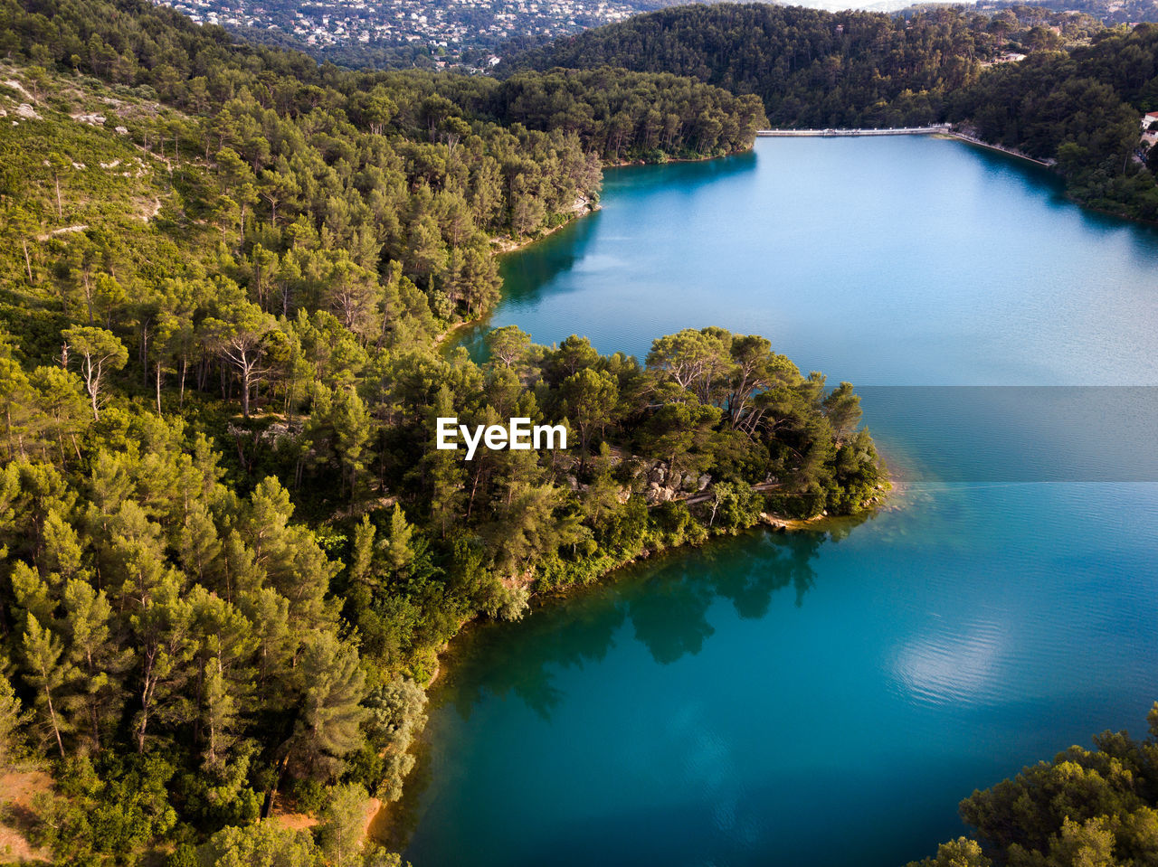 water, scenics - nature, tree, lake, tranquil scene, plant, tranquility, beauty in nature, high angle view, nature, day, no people, land, non-urban scene, mountain, forest, idyllic, remote, outdoors, turquoise colored, lagoon