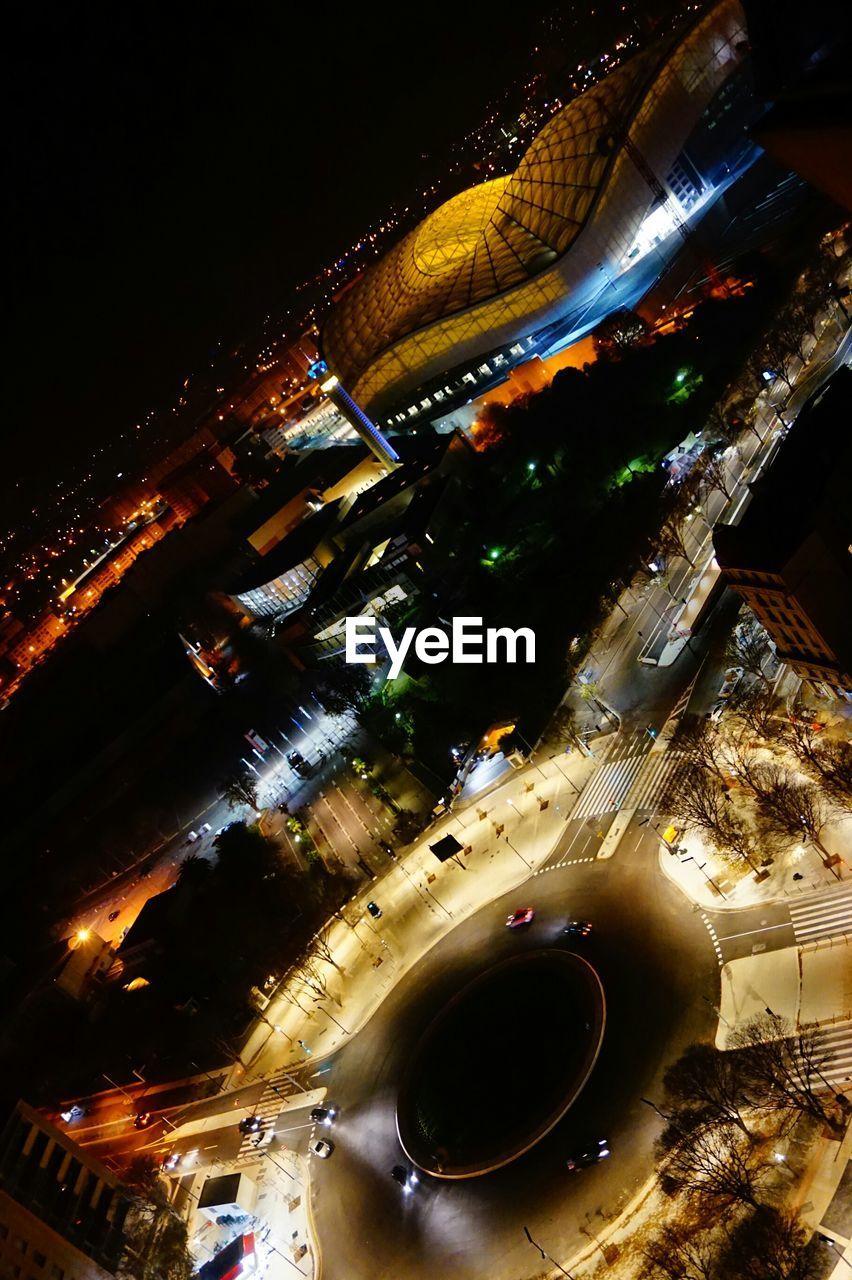 High angle view of illuminated city at night