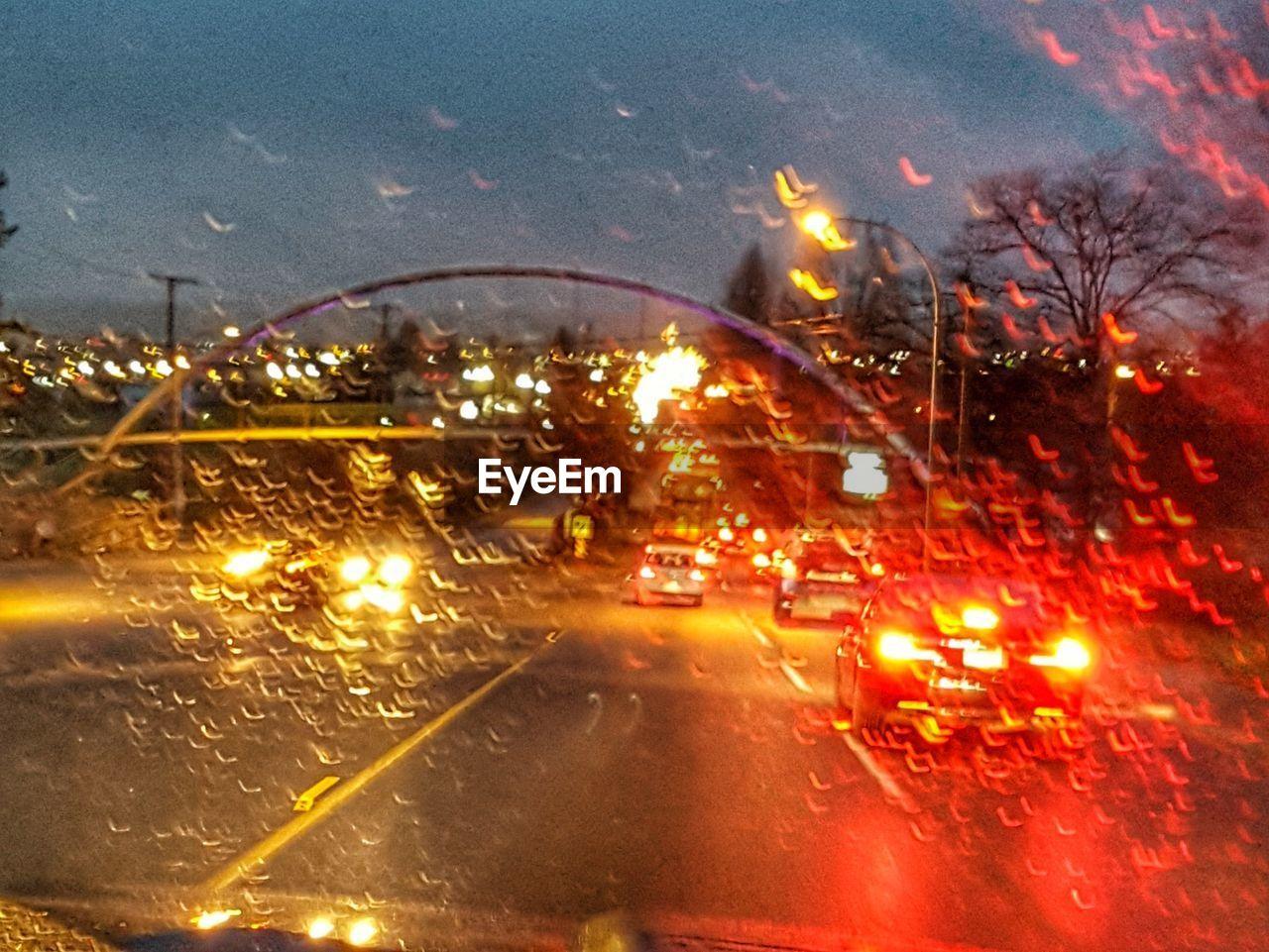 illuminated, night, transportation, no people, car, wet, motion, outdoors, water, city