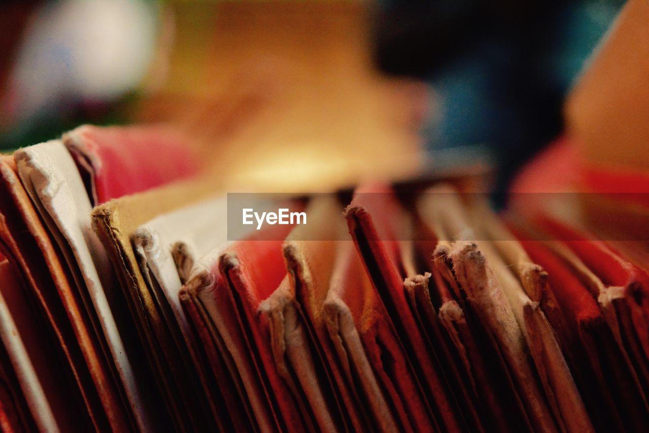 Close up of files