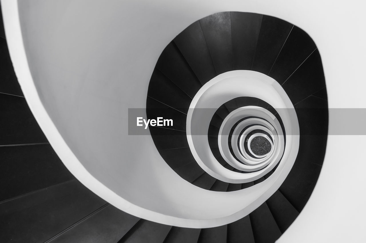 High Angle View Of Spiral Staircase