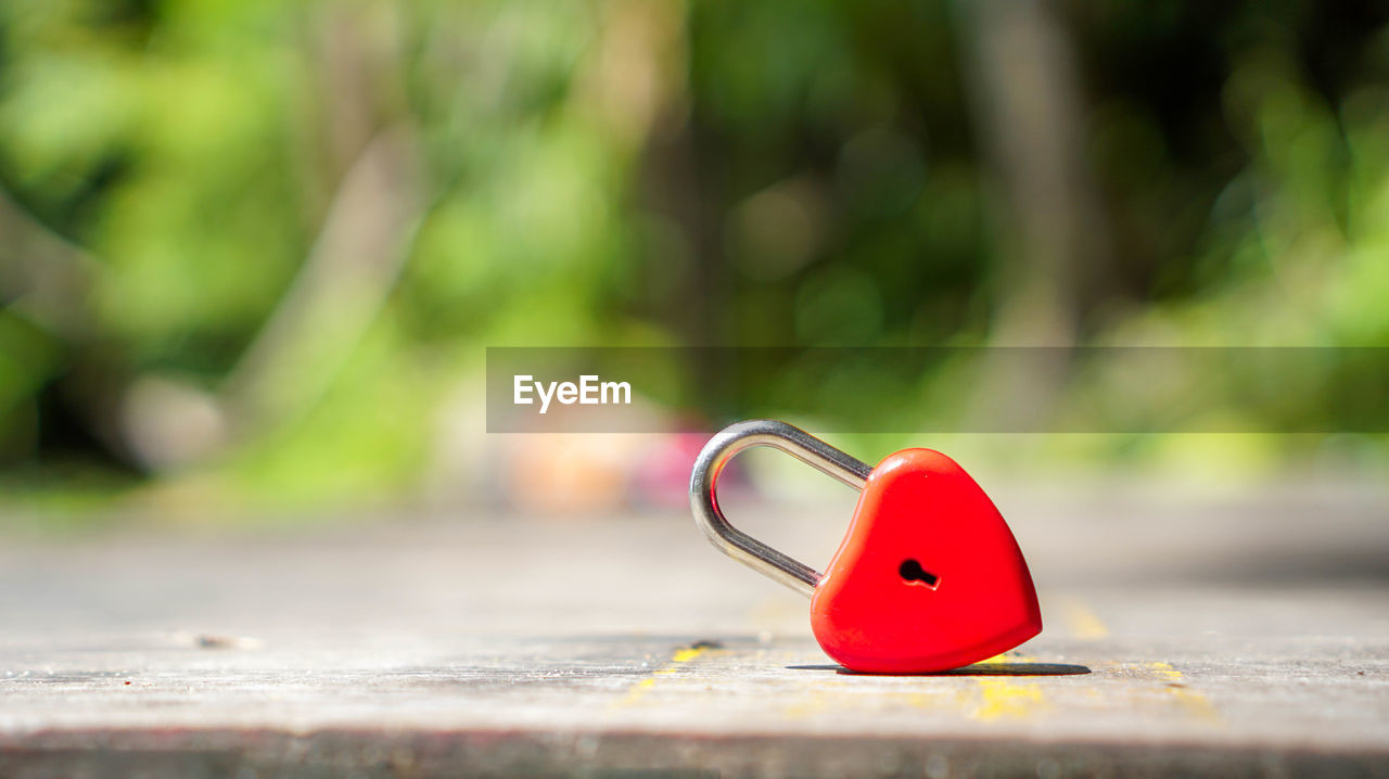 red, day, selective focus, close-up, focus on foreground, positive emotion, heart shape, love, no people, outdoors, emotion, nature, still life, metal, sunlight, single object, lock, green color, representation, surface level