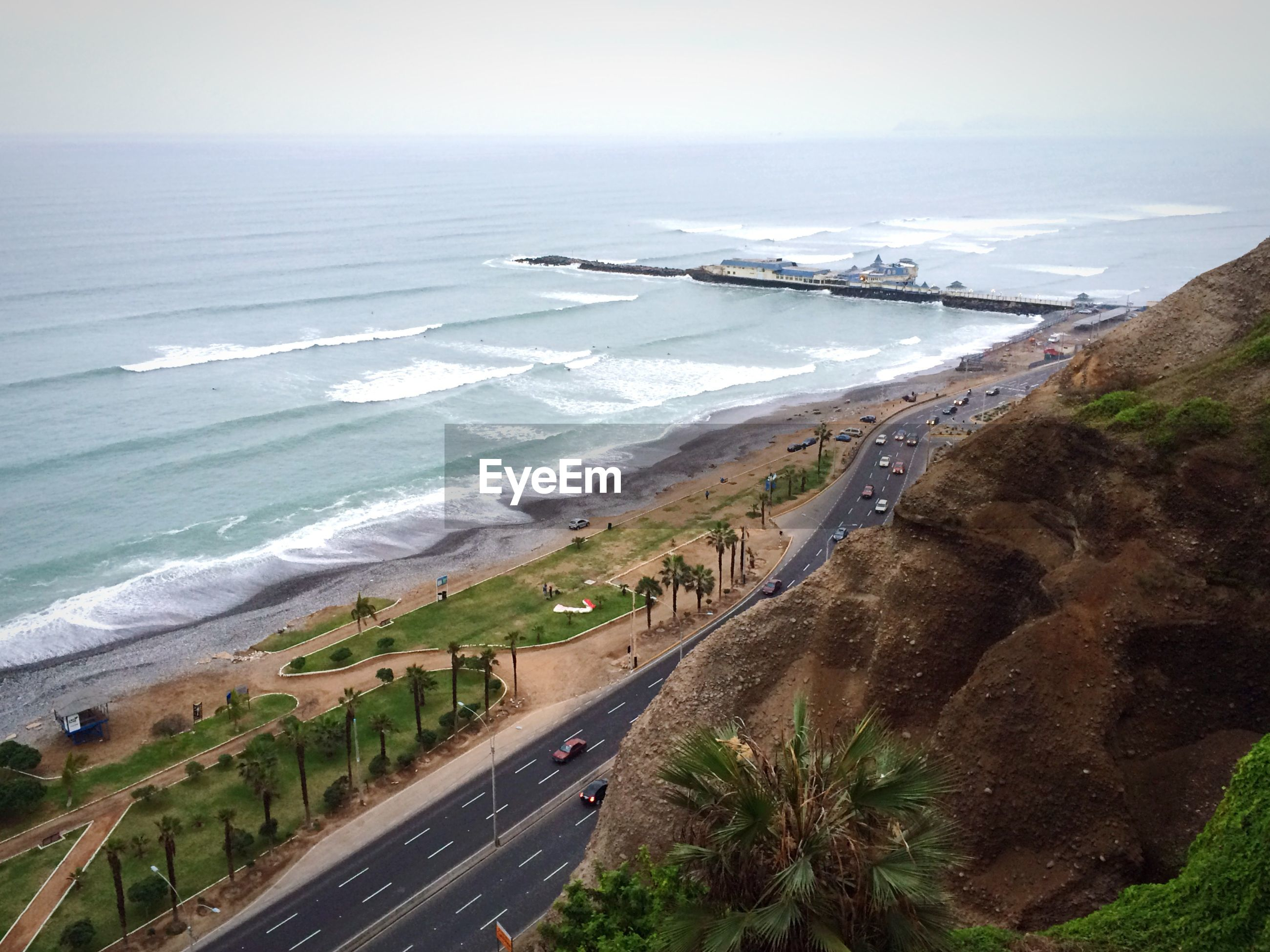 High angle view of road and sea