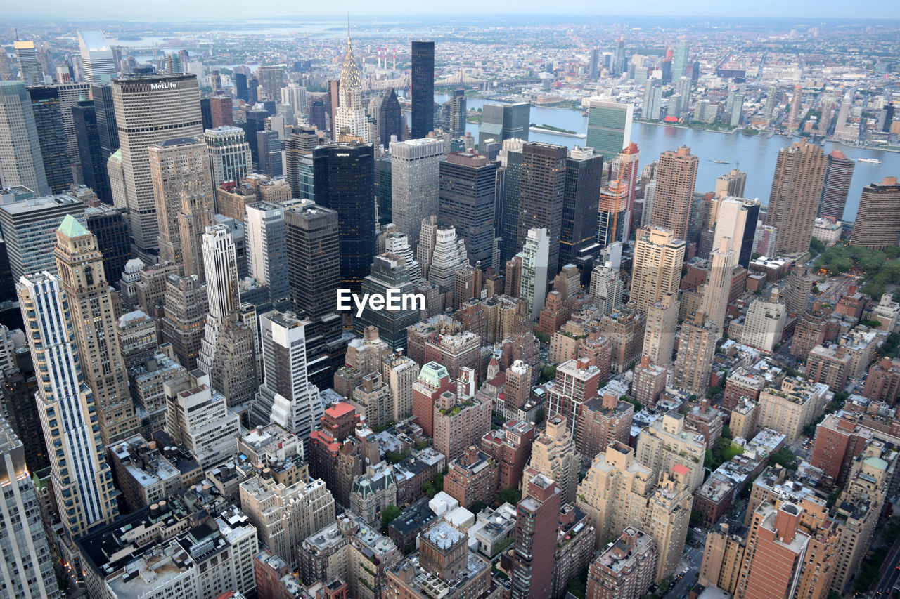 Aerial View Of Manhattan Against Sky