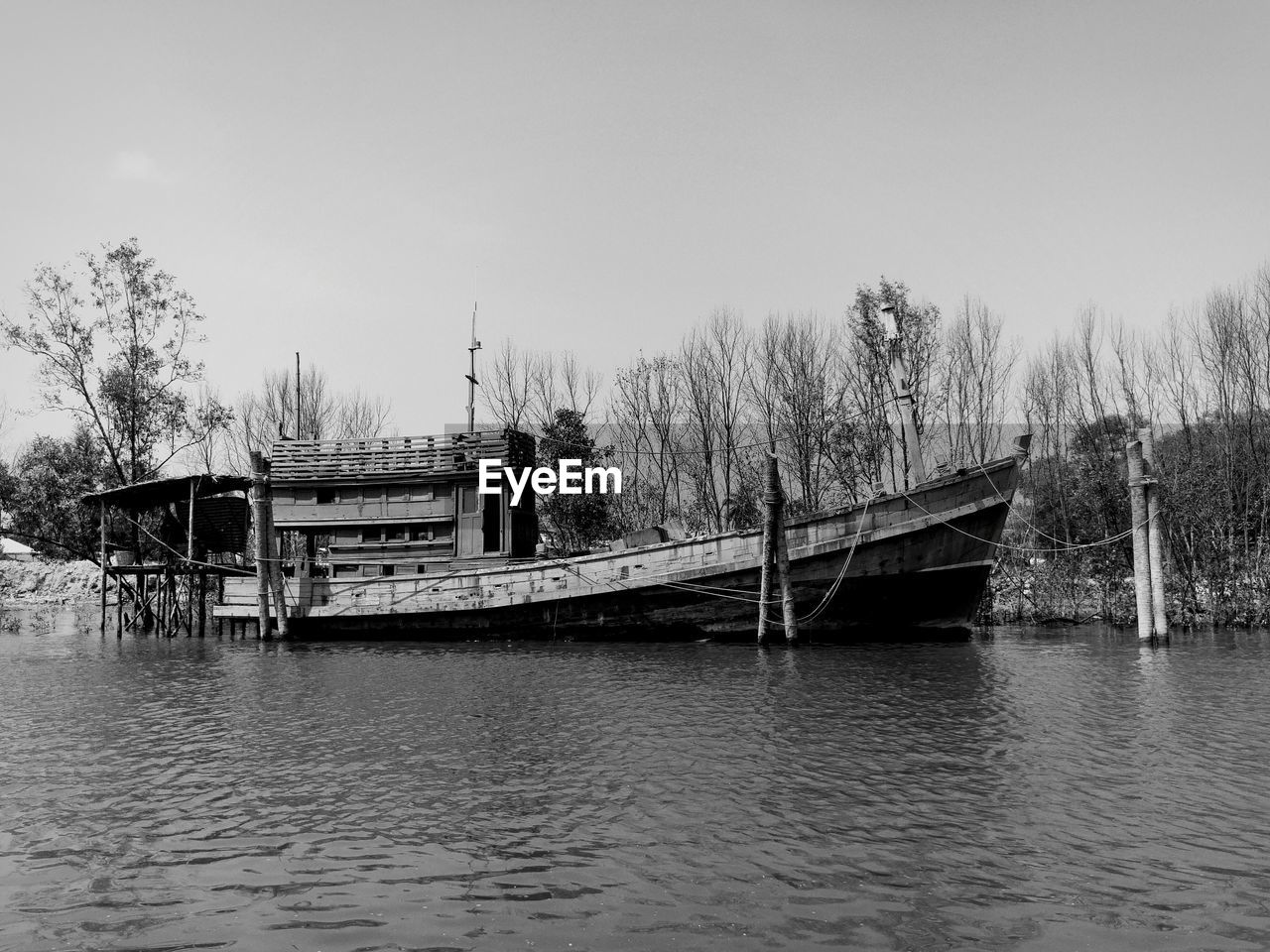 Boat In River With Trees In Background