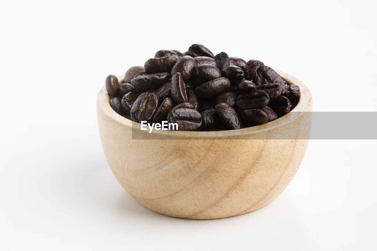 food and drink, white background, still life, food, coffee - drink, indoors, studio shot, brown, roasted coffee bean, freshness, coffee, no people, large group of objects, close-up, bowl, healthy eating, copy space, wellbeing, raw food, cut out, caffeine