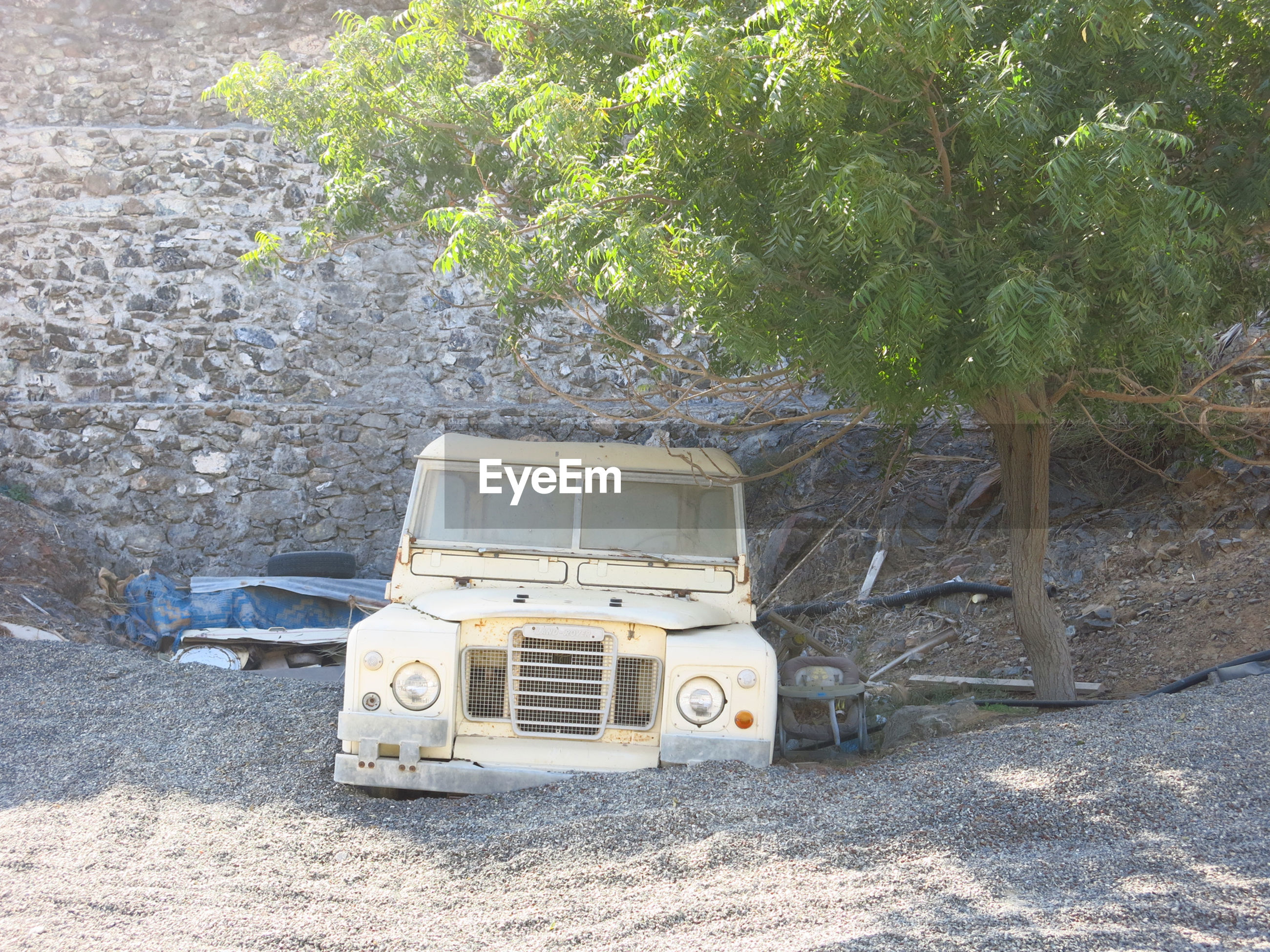 Abandoned vehicle on sand by tree