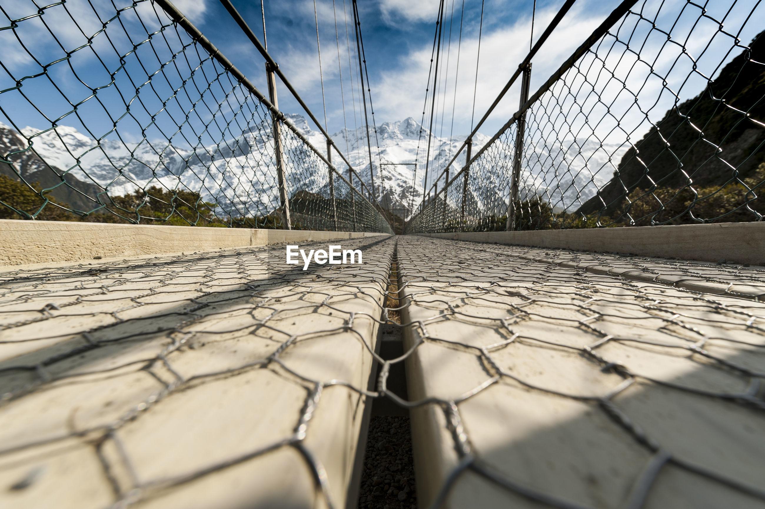 Surface level of footbridge