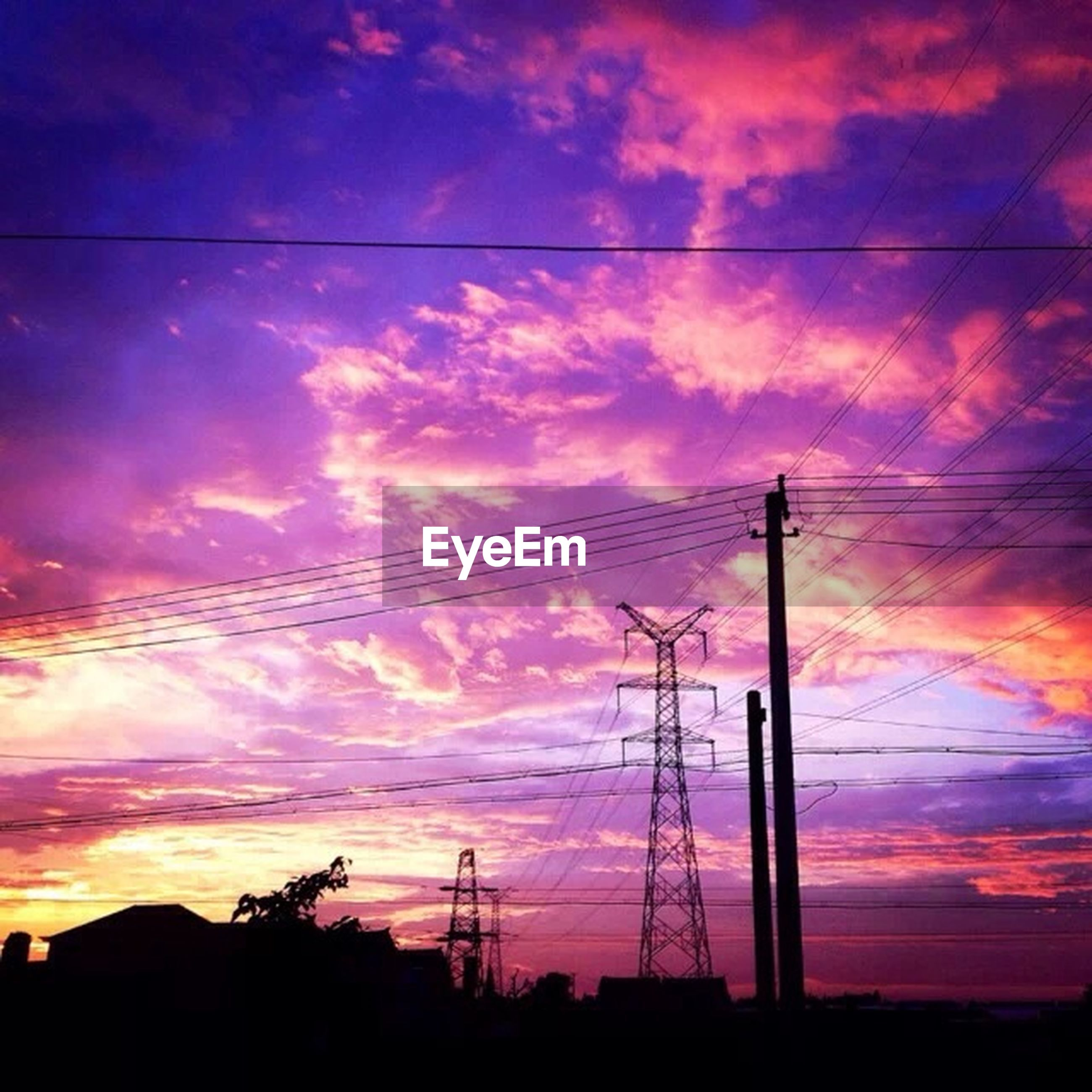 sunset, power line, electricity pylon, silhouette, power supply, sky, electricity, fuel and power generation, connection, cable, low angle view, cloud - sky, technology, orange color, cloud, cloudy, power cable, beauty in nature, scenics, dramatic sky